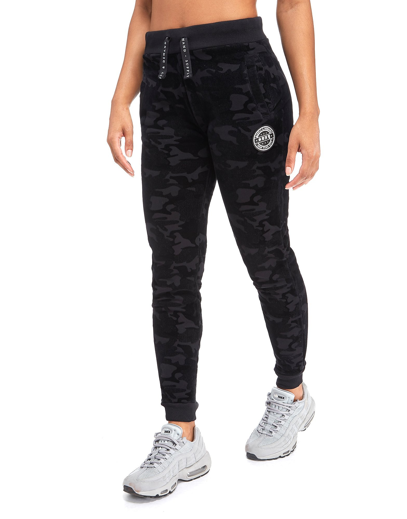 Supply & Demand Velour Camo Tracksuit Bottoms - Only at JD - Black, Black
