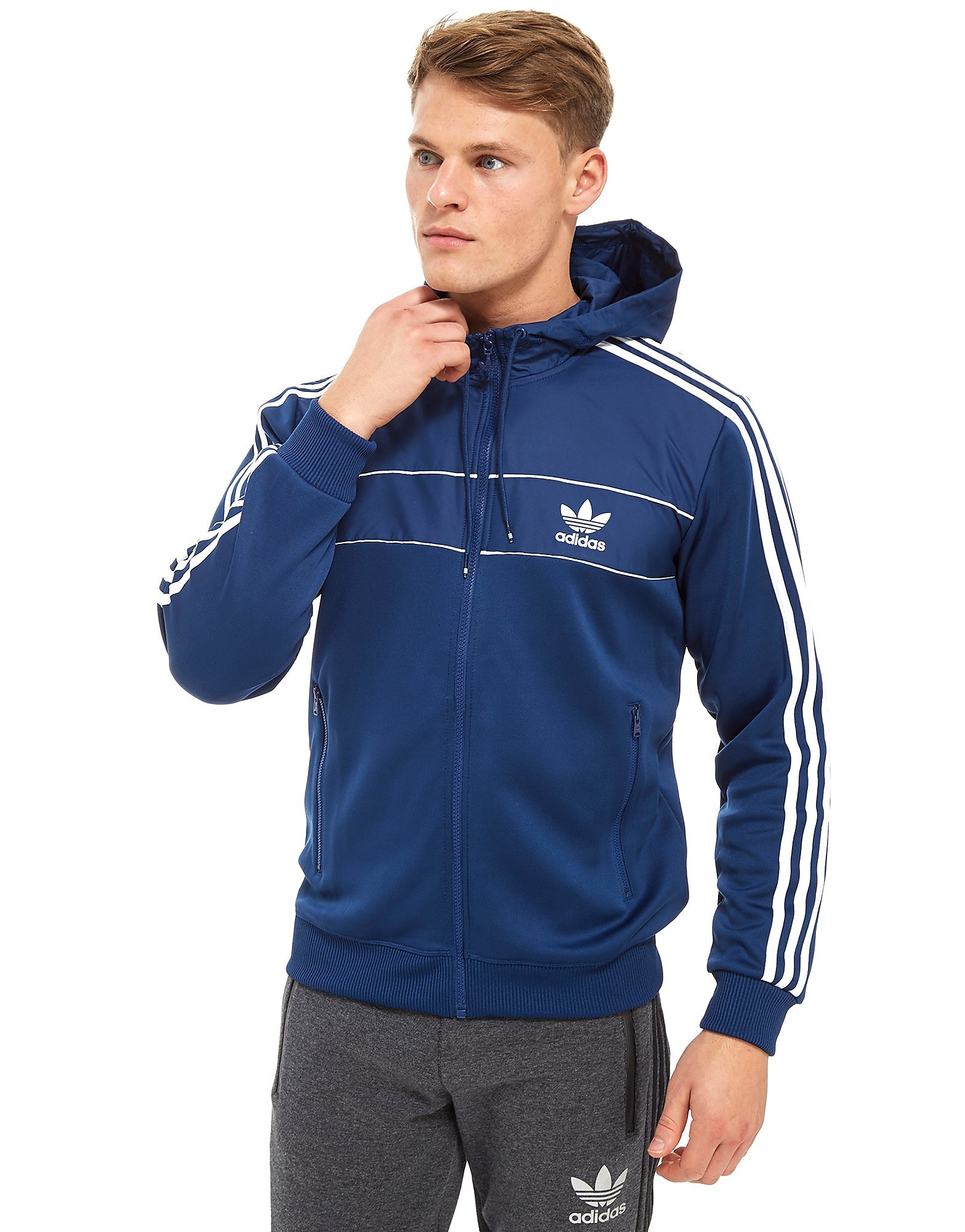 adidas Originals Country Full Zip Hoodie Heren - alleen bij JD - Oxford Blue/White - Heren