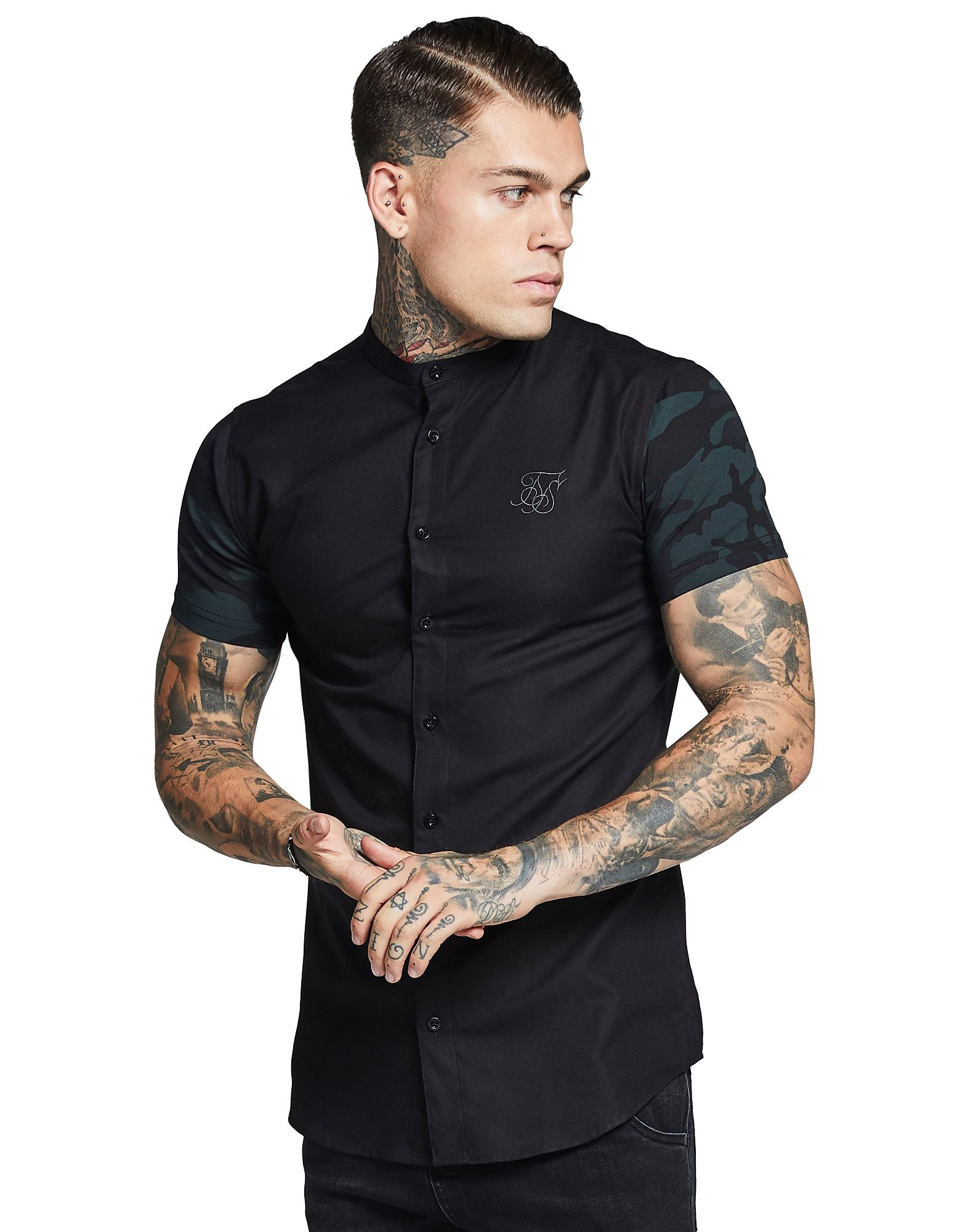 SikSilk Contrast Short Sleeve Oxford Shirt