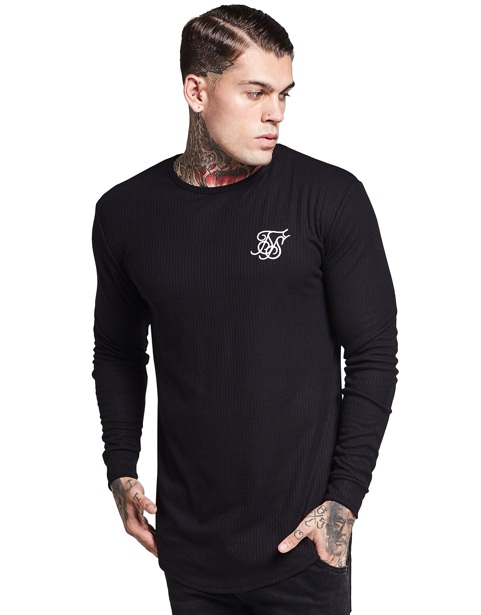 SikSilk Long Sleeve Ribbed Core T-Shirt