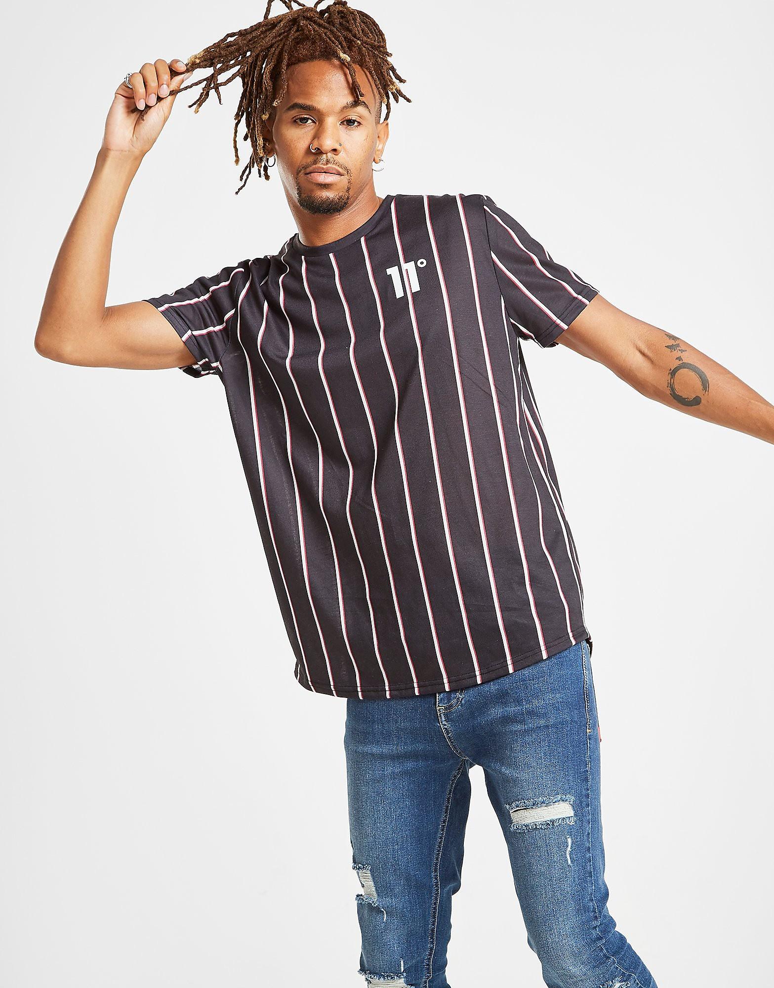 11 Degrees T-Shirt Stripe Homme - Only at JD - Noir, Noir