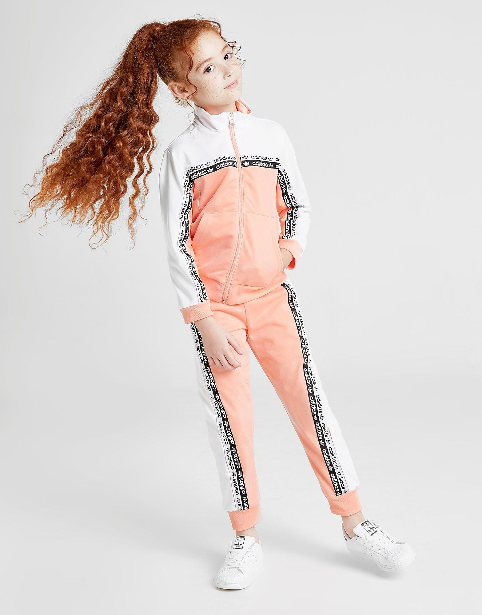 adidas Originals Girls Vocal Tape Full Zip Trainingspak Kinderen Roze Kind