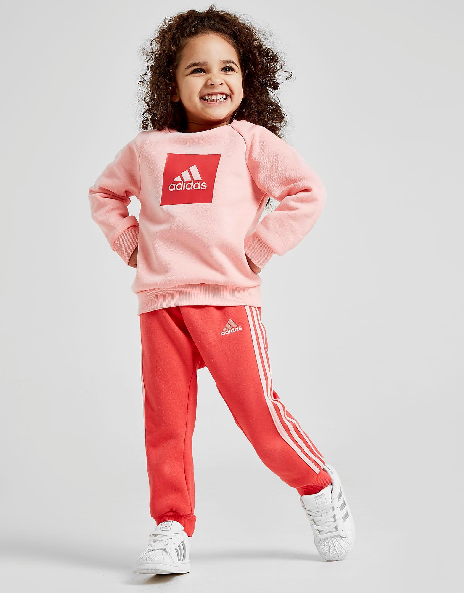 adidas Girls' Badge Of Sport Box Crew Trainingspak Baby's Roze Kind