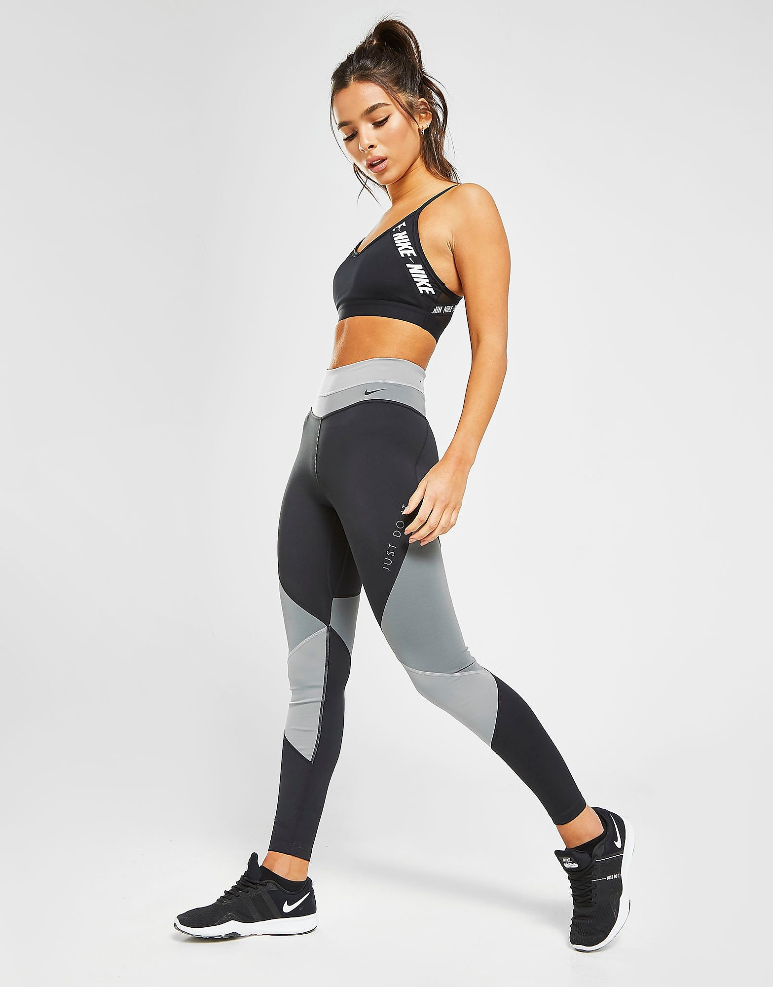 Nike Training One Colour Block Tights Zwart Dames Zwart