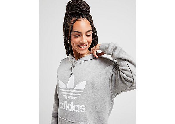 Ropa deportiva Mujer adidas Originals sudadera con capucha Trefoil, Grey/White