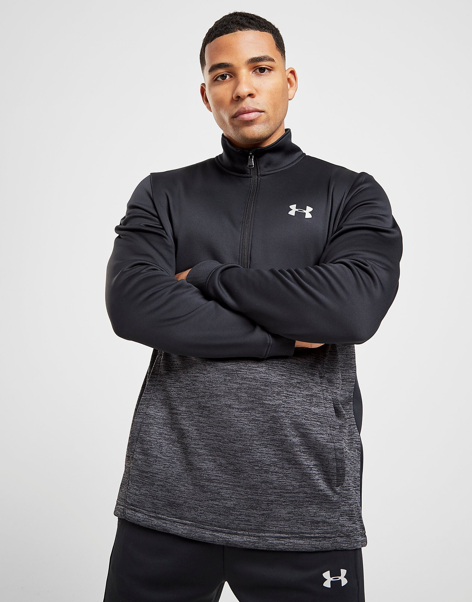 Under Armour Fleece 1 2 Zip Track Top Heren alleen bij JD Zwart Heren Zwa