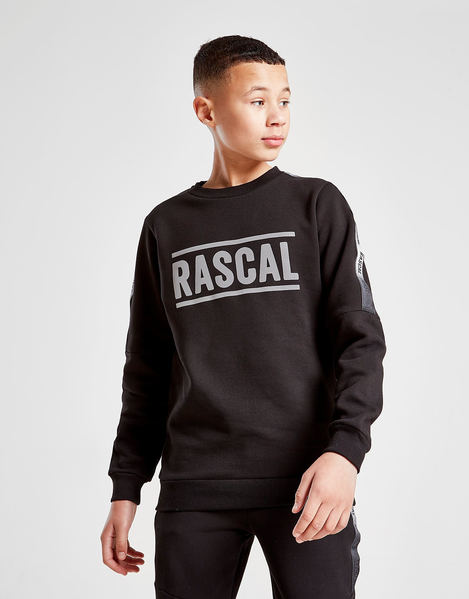 Rascal Reflective Fleece Crew Sweatshirt Junior Zwart Kind Zwart