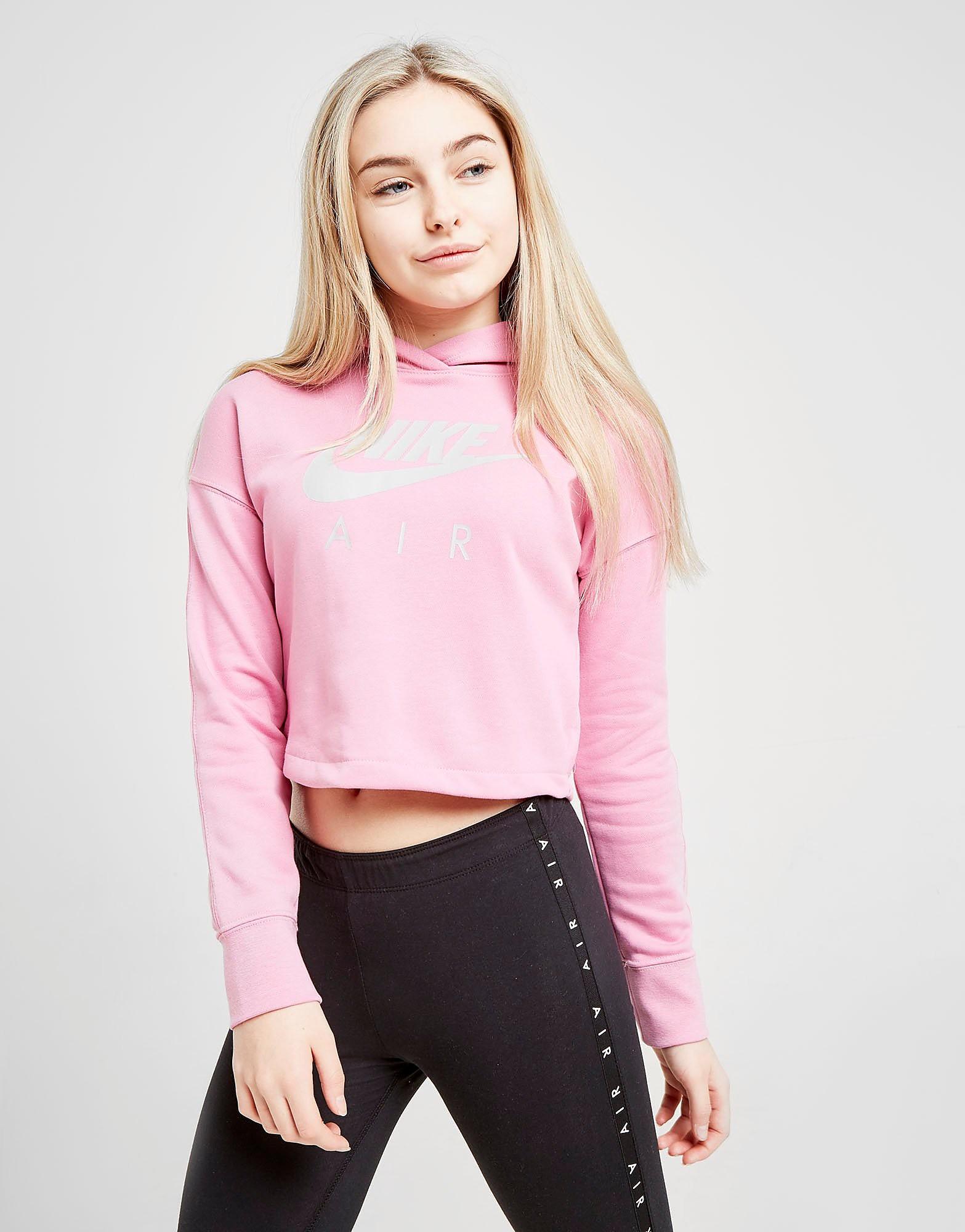 Nike Girls Air Crop Hoodie Junior Roze Kind Roze