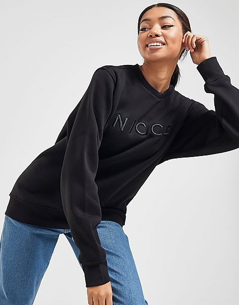 sweat-shirt embroidered logo crew femme