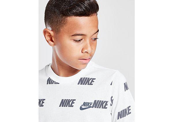 Nike Hybrid All Over Print T-Shirt Junior - White/Black - Kind
