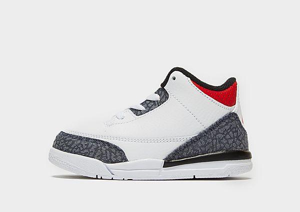 Jordan Air 3 Retro 'Denim' para bebé, White/Grey/Red