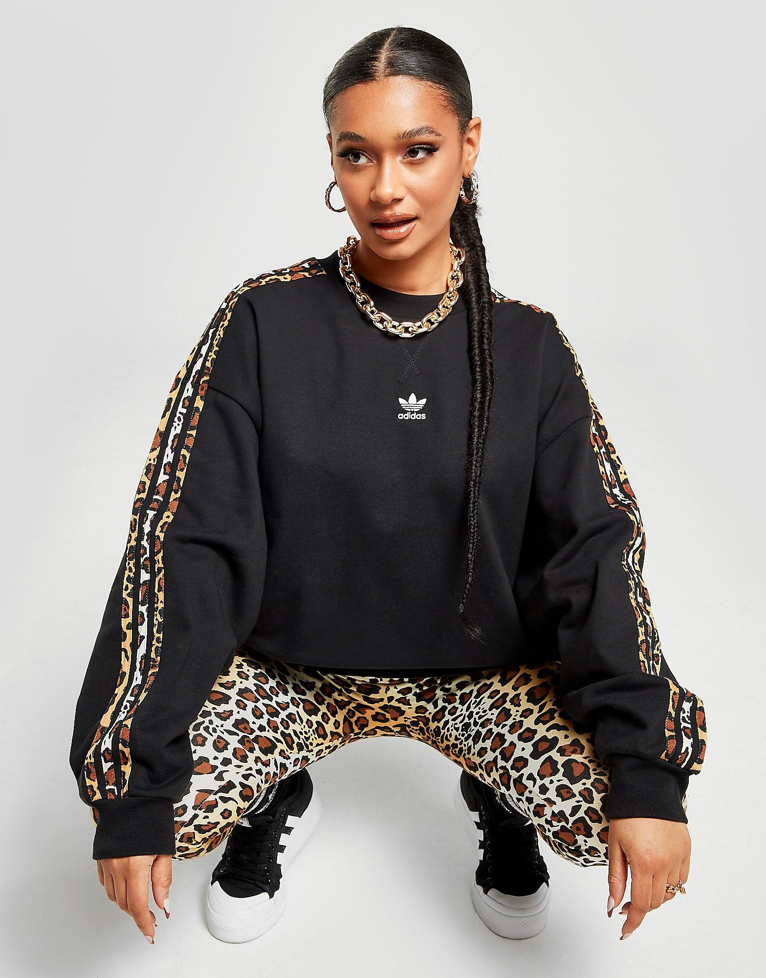 adidas Originals Leopard Luxe Crew Sweathirt, Svart