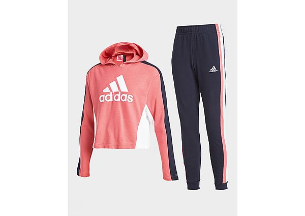 Adidas Girls' Badge Of Sport Crop Hooded Tracksuit Junior
