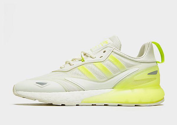 adidas Originals ZX 2K Boost 2.0 Shoes, White Tint / Semi Solar Slime / Semi Solar Slime