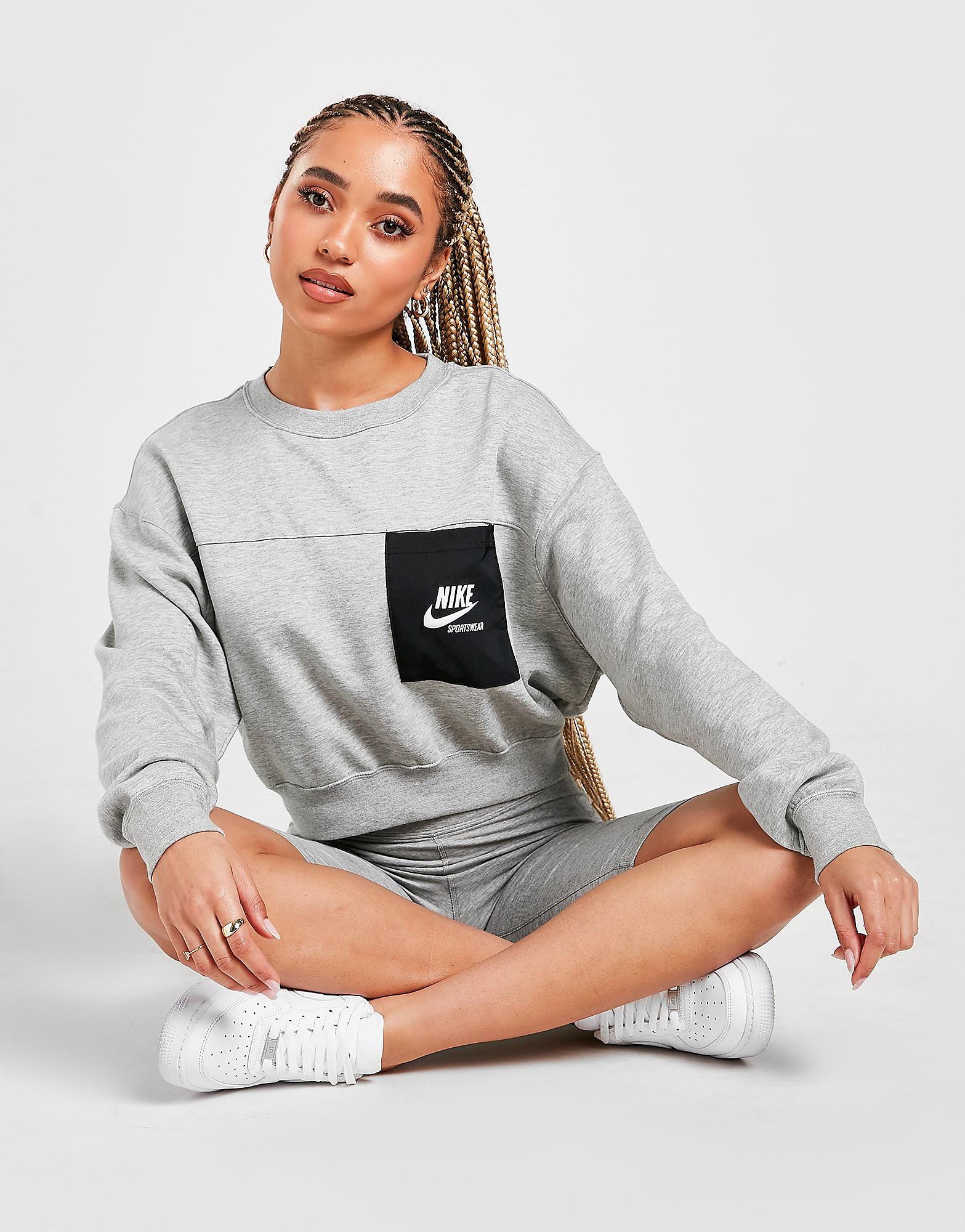 Nike Heritage Fleece Oversized Crew Sweatshirt, Grå