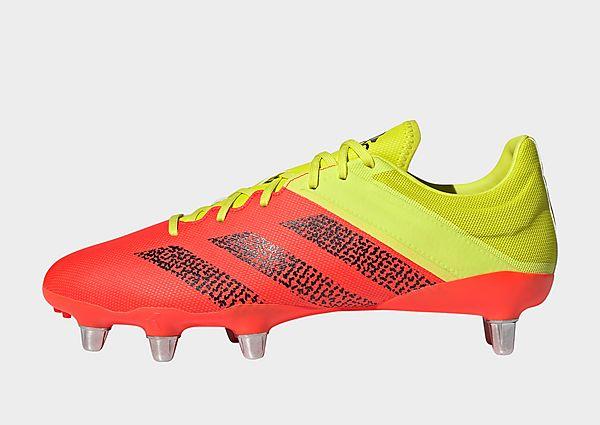 adidas Bota de rugby Kakari Elite césped natural húmedo, Acid Yellow / Core Black / Solar Red