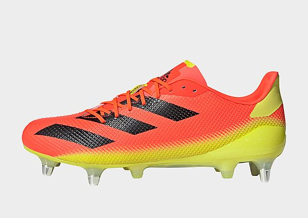 adidas Bota de rugby Adizero RS7 césped natural húmedo, Solar Red / Core Black / Acid Yellow