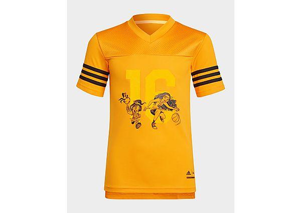 adidas disney comfy princesses t-shirt - bright orange / black / bold gold, bright orange / black / bold gold