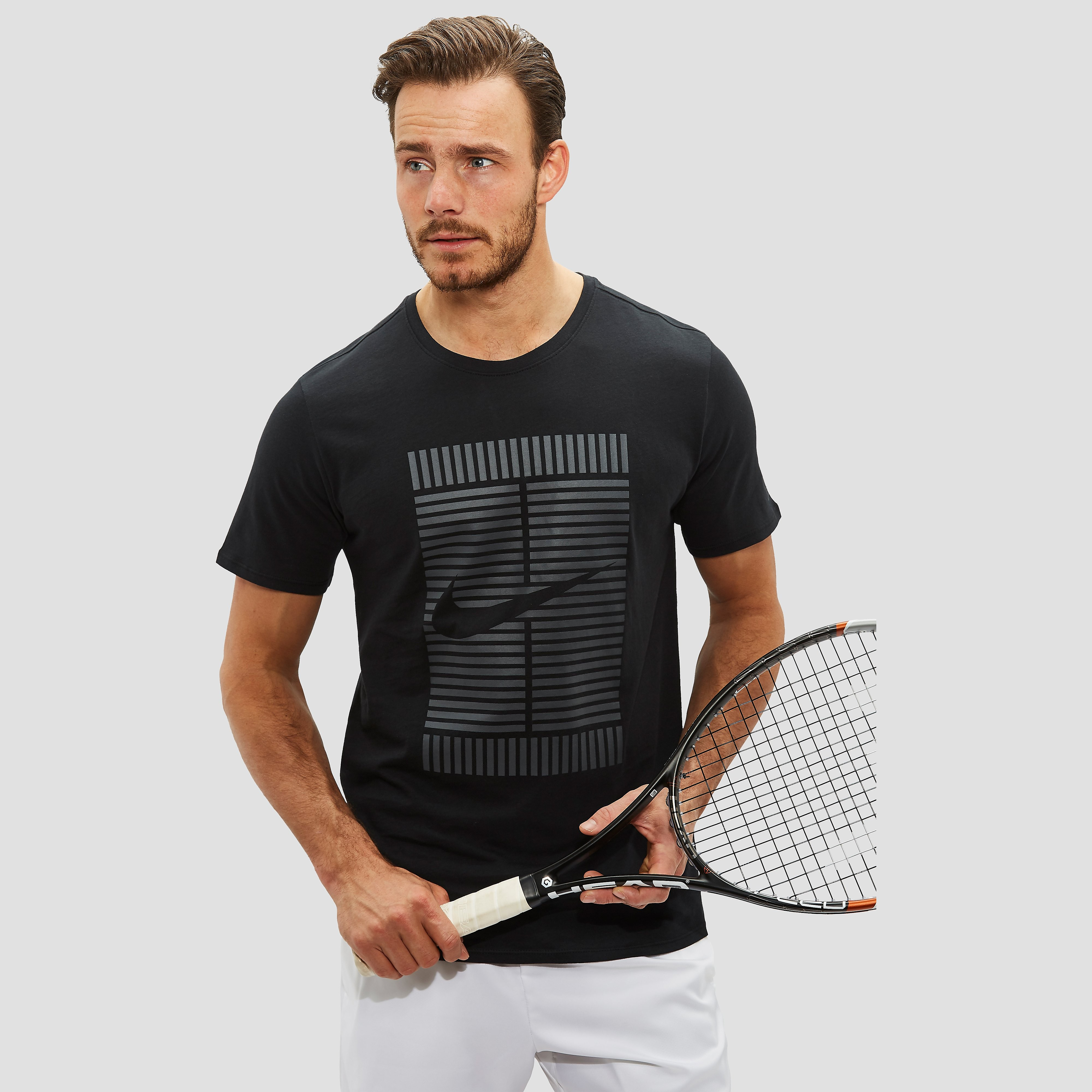 NIKE COURT TENNISSHIRT ZWART HEREN