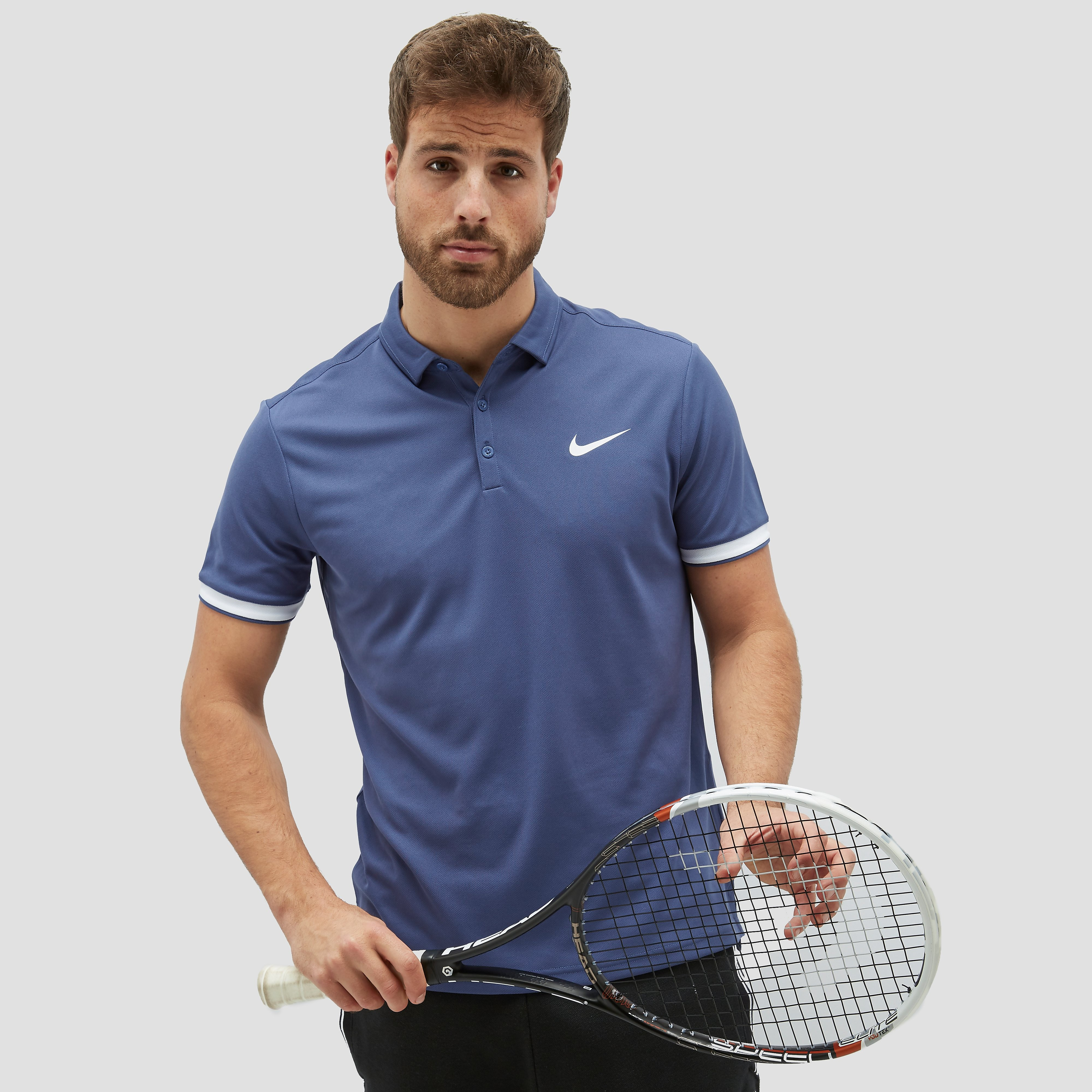 NIKE CITY DRY TEAM TENNIS POLO BLAUW/WIT HEREN