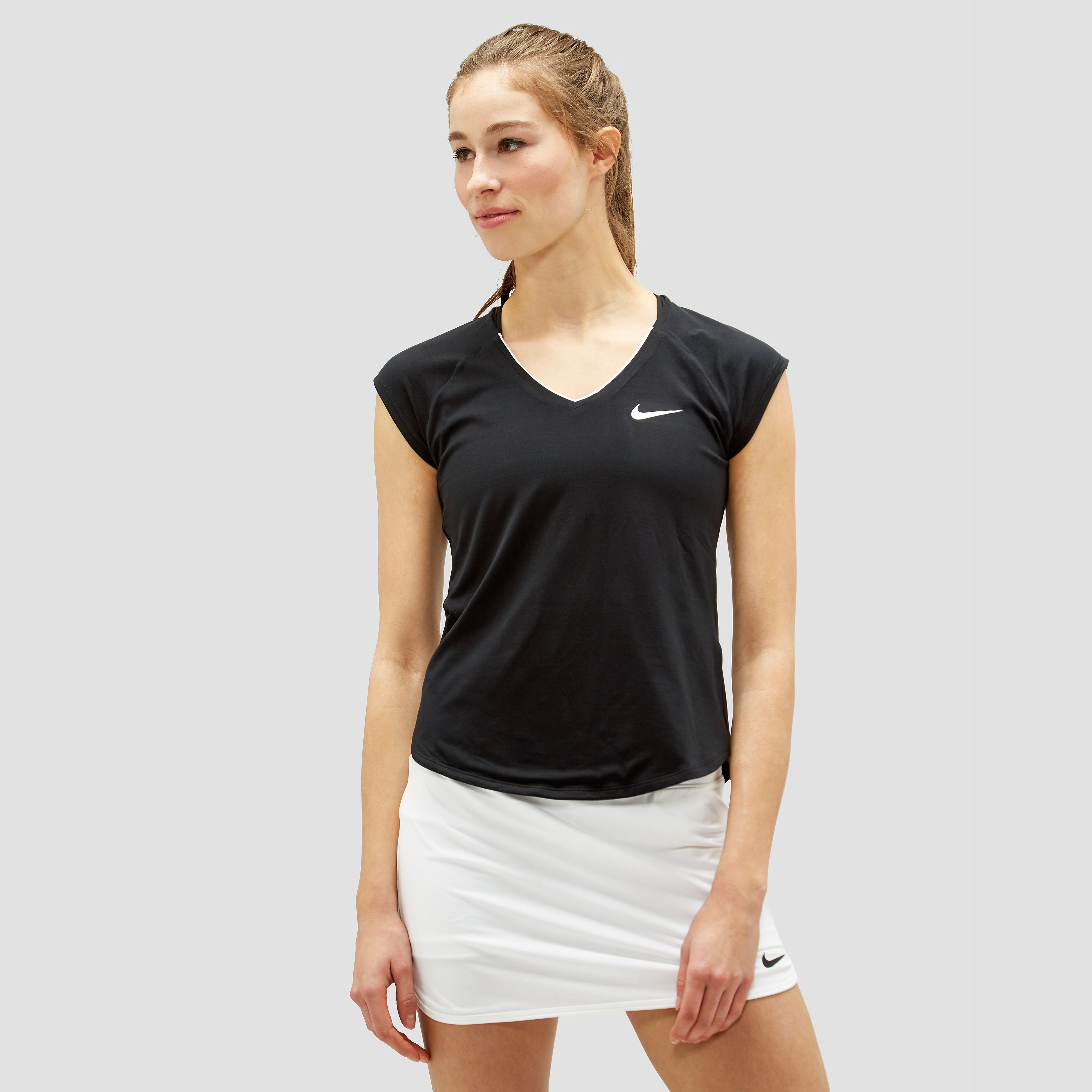 NIKE COURT PURE TENNISSHIRT ZWART DAMES
