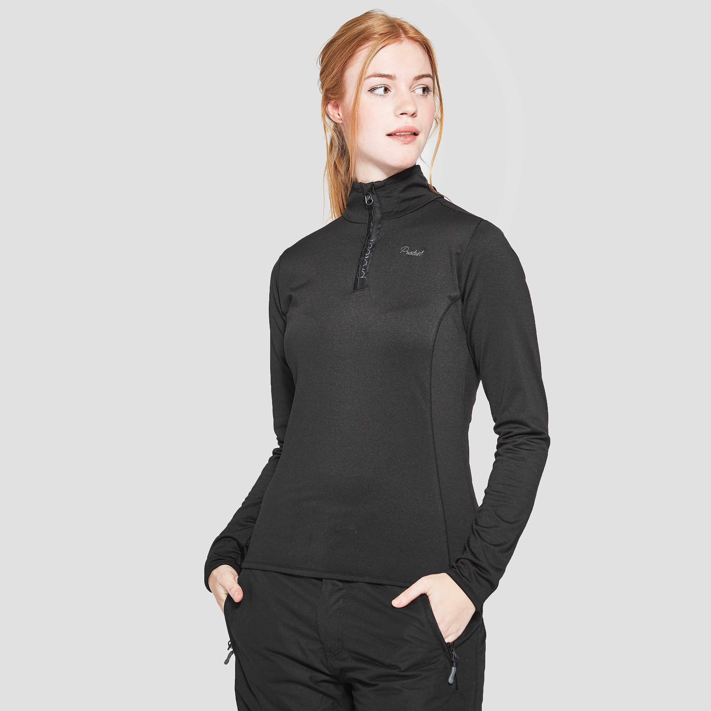 PROTEST PROTEST FABRIZOY 1/4-RITS WINTER TOP ZWART DAMES