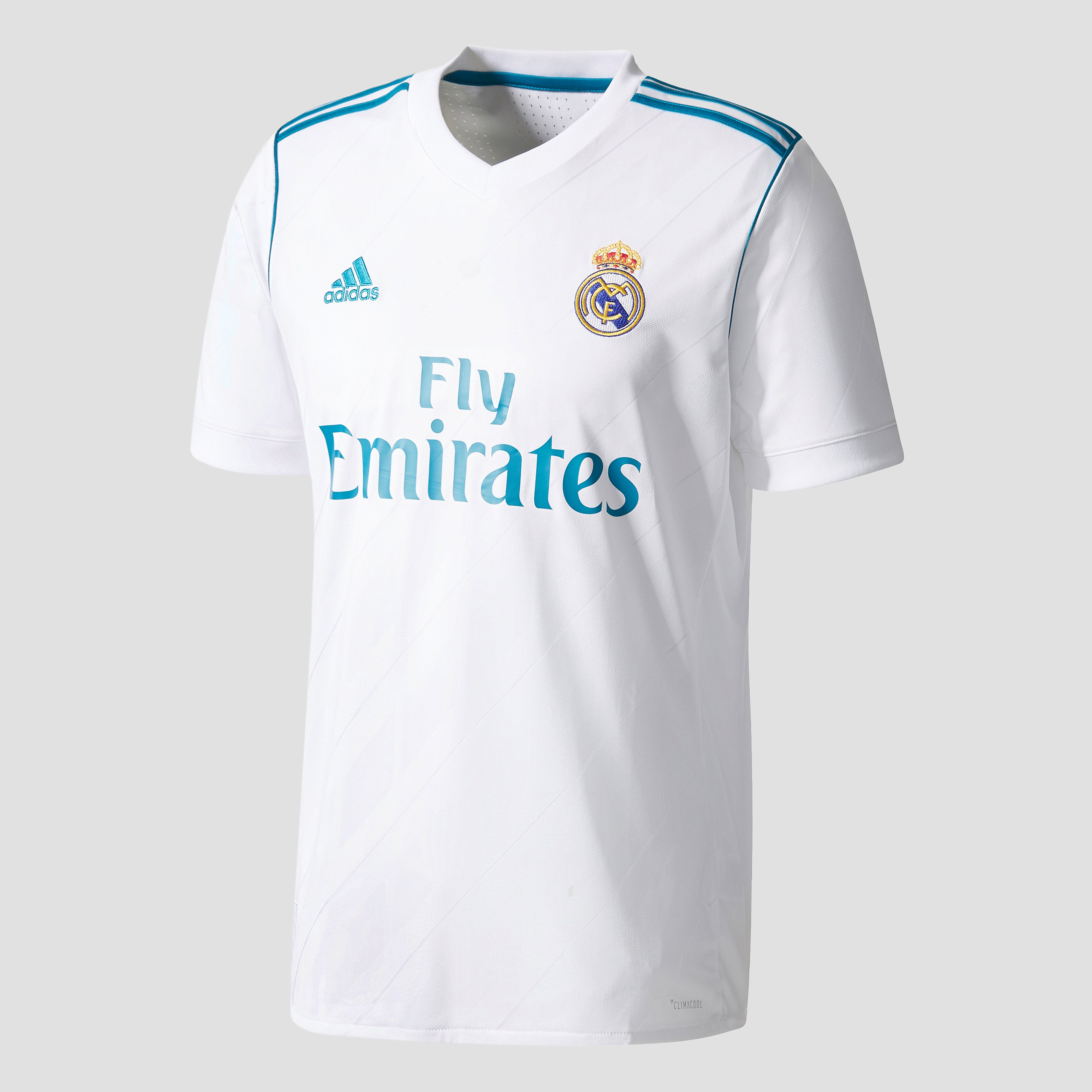 ADIDAS REAL MADRID THUISSHIRT WIT/TURQUOISE HEREN