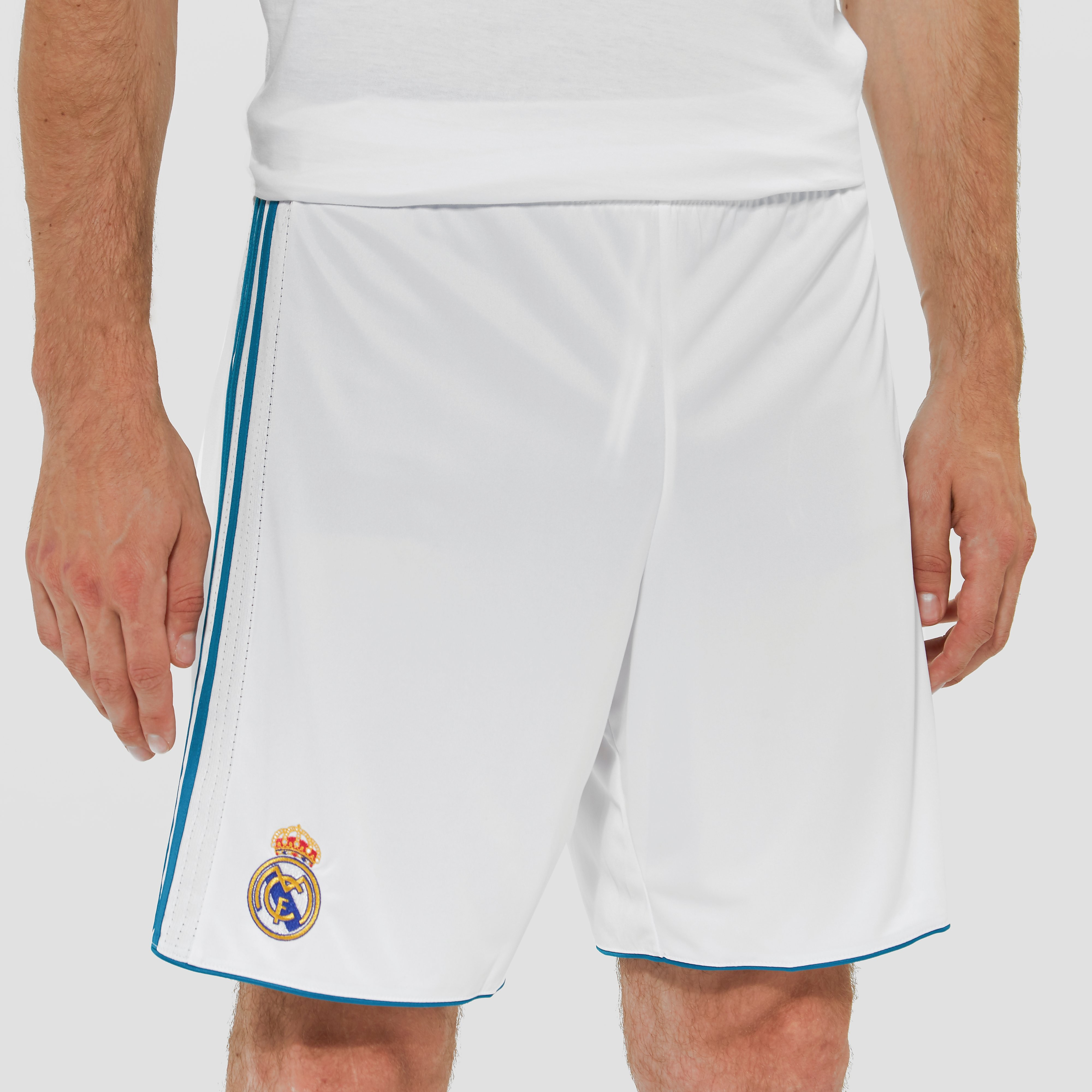ADIDAS REAL MADRID THUISSHORT 17/18 WIT/TURQOISE HEREN