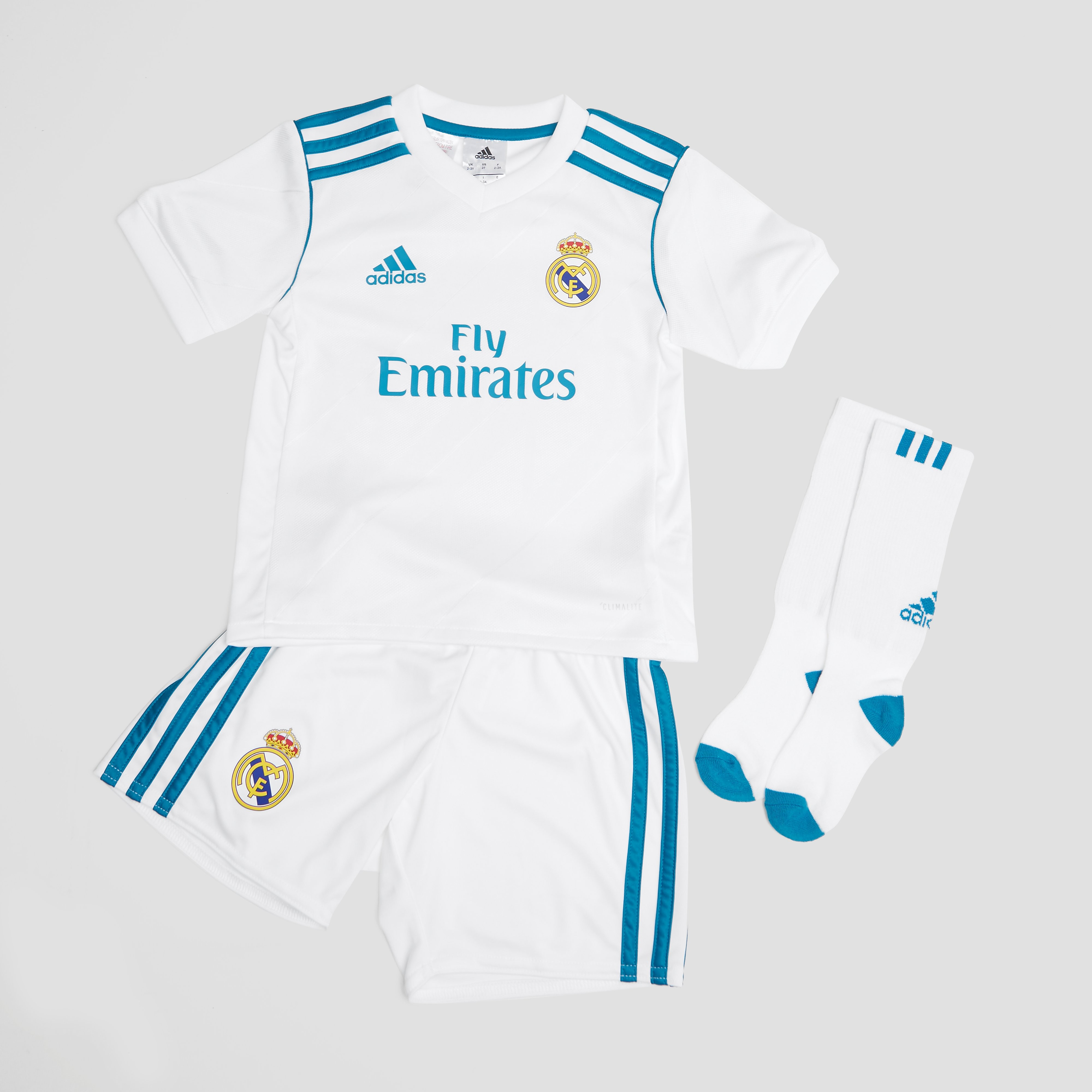 ADIDAS REAL MADRID THUISKIT 17/18 WIT/TURQUOISE KINDEREN