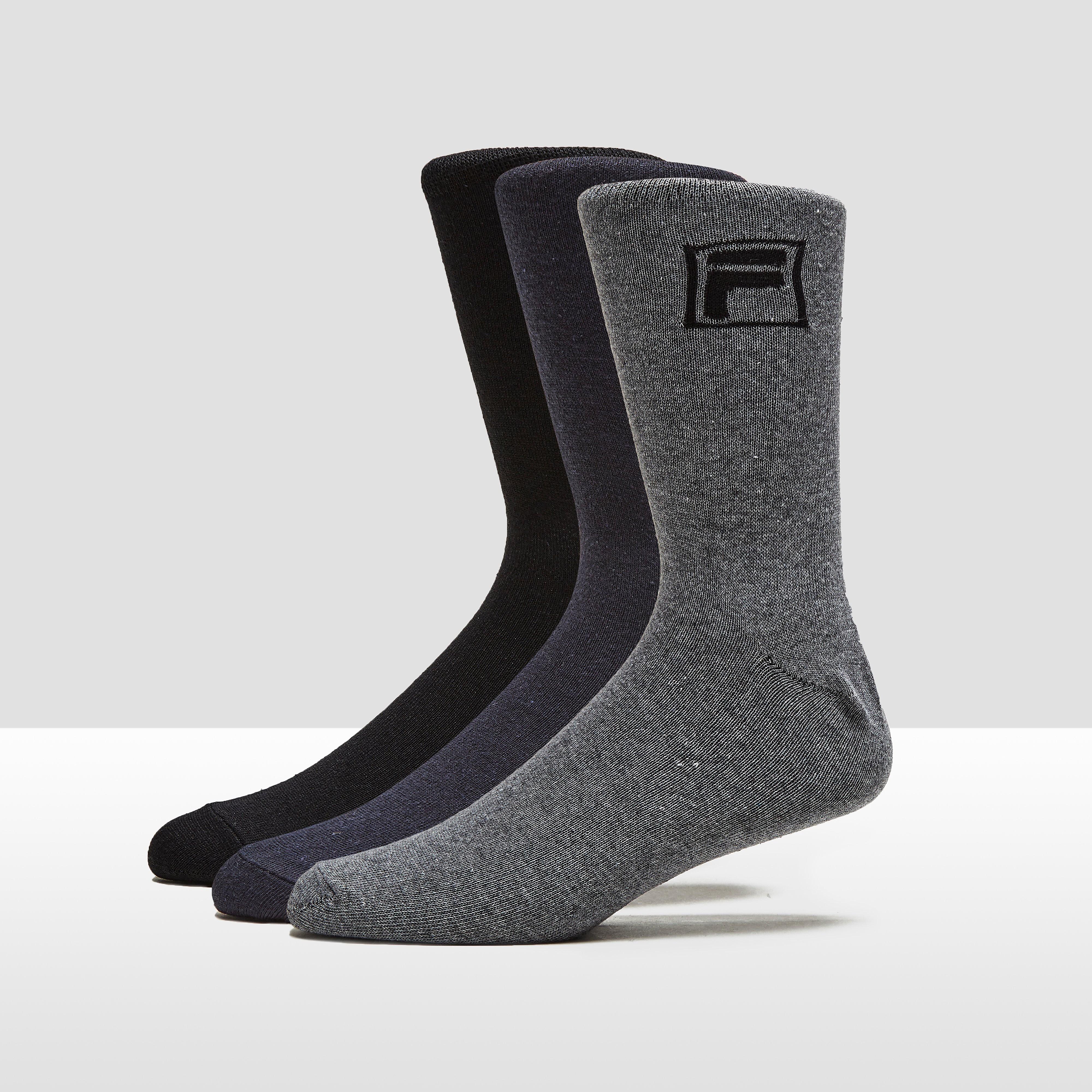 FILA ESSENTIAL DRESSED SOKKEN 3-PACK GRIJS/ZWART
