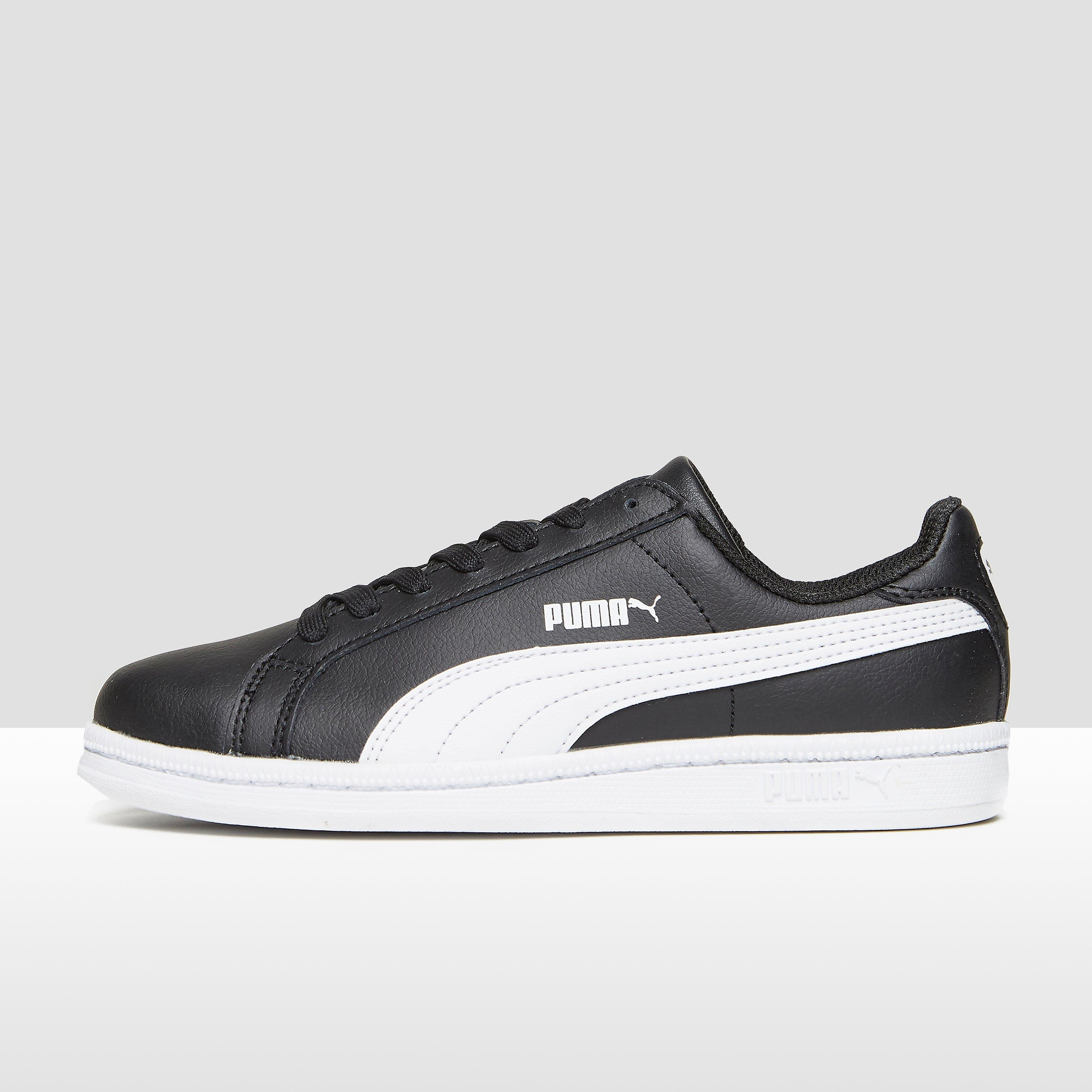 PUMA SMASH LEATHER SNEAKERS ZWART/WIT KINDEREN