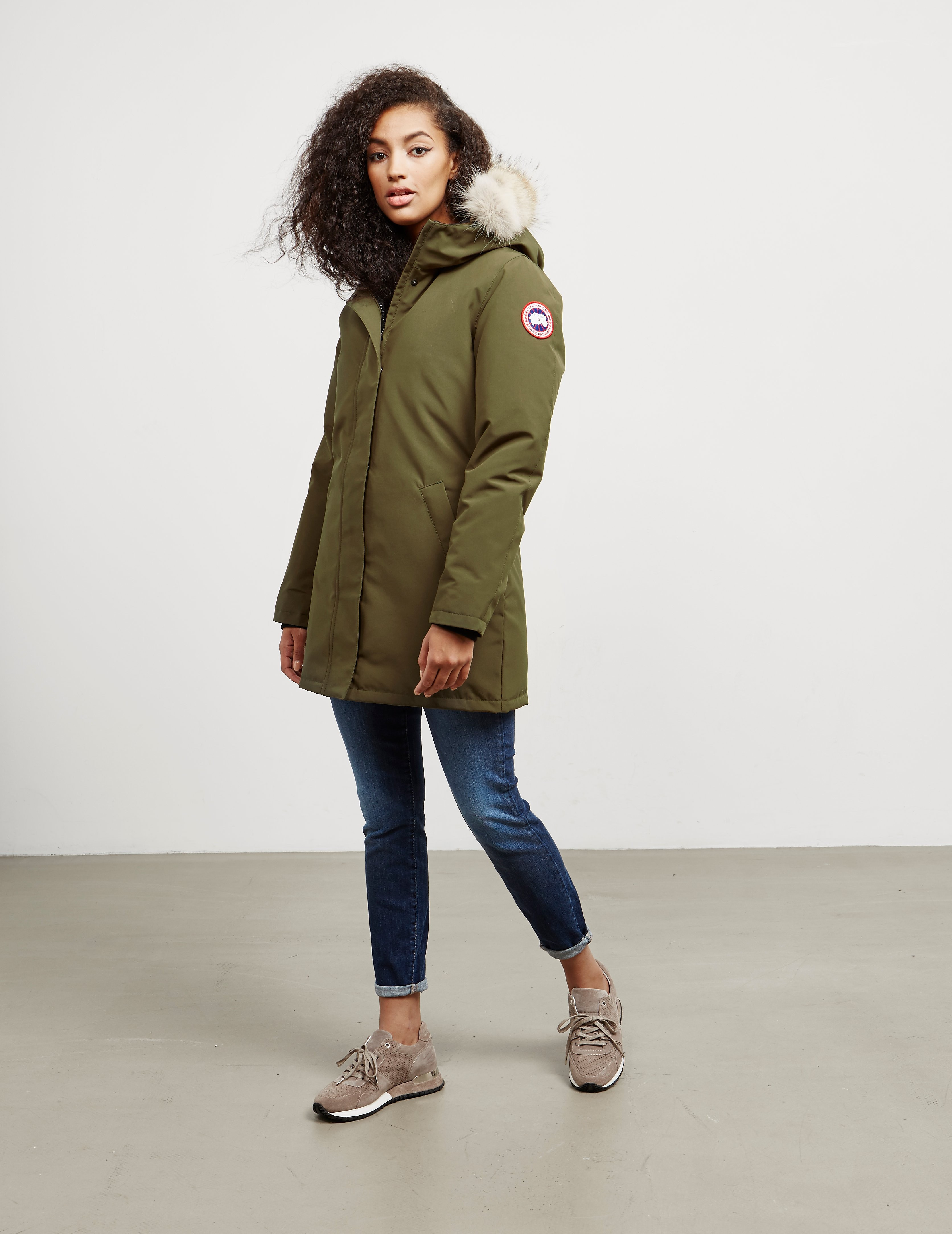 Womens Canada Goose Victoria Padded Parka Jacket Green 956d597f5