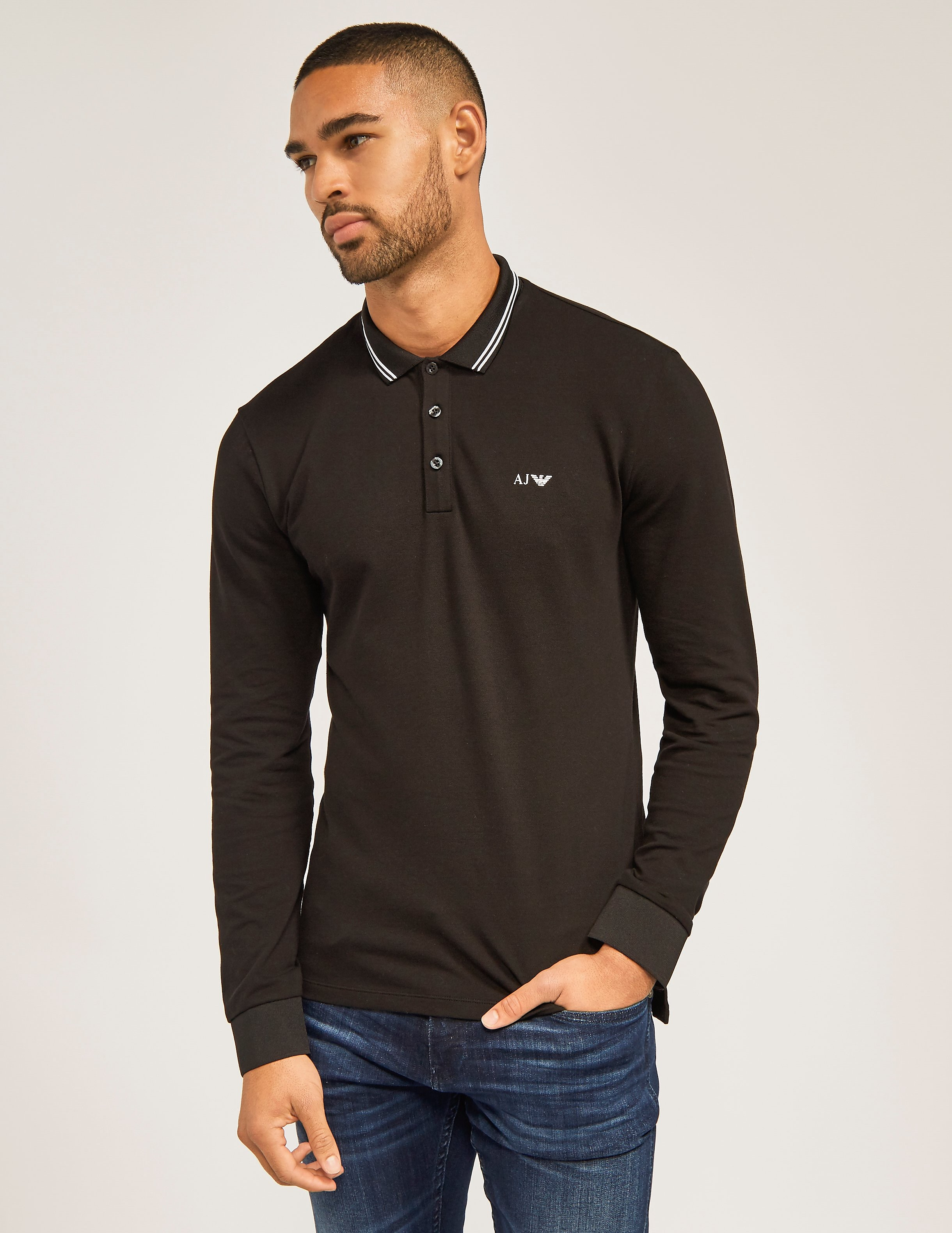 Armani Jeans Modern Fit Long Sleeve Polo Shirt