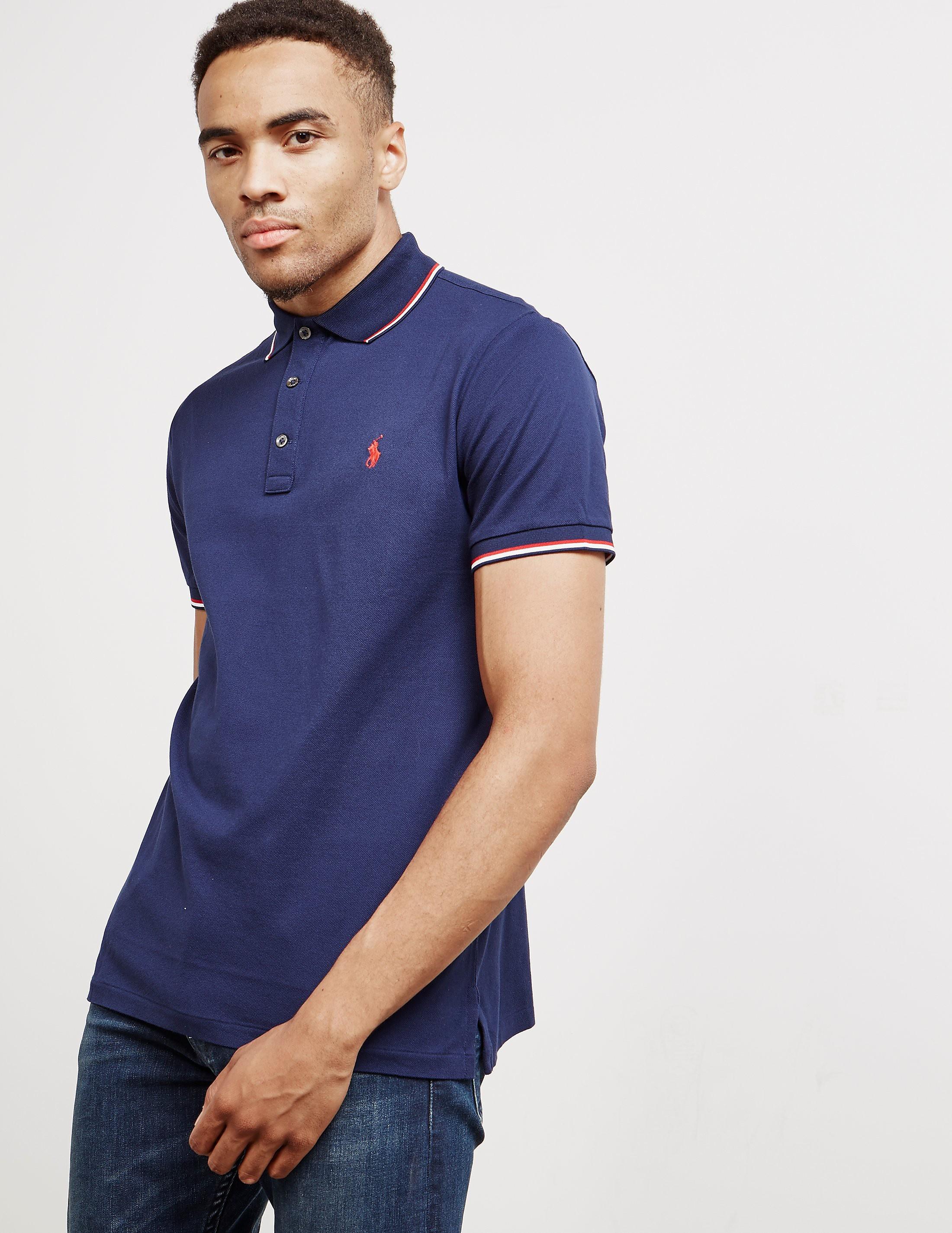 Mens Polo Ralph Lauren Tipped Short Sleeve Polo Shirt Navy Blue