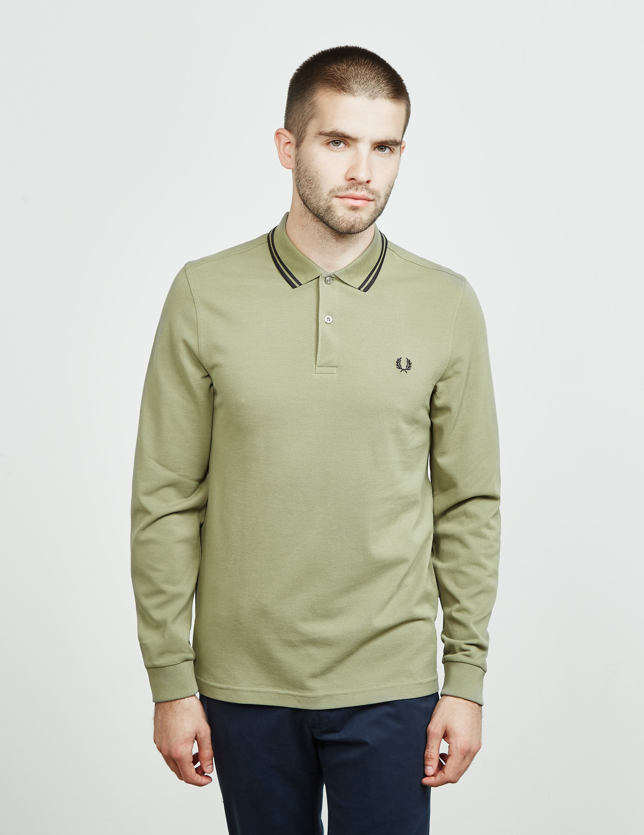 Mens Fred Perry Long Sleeve Twin Tip Polo Shirt Oliveblack Olive