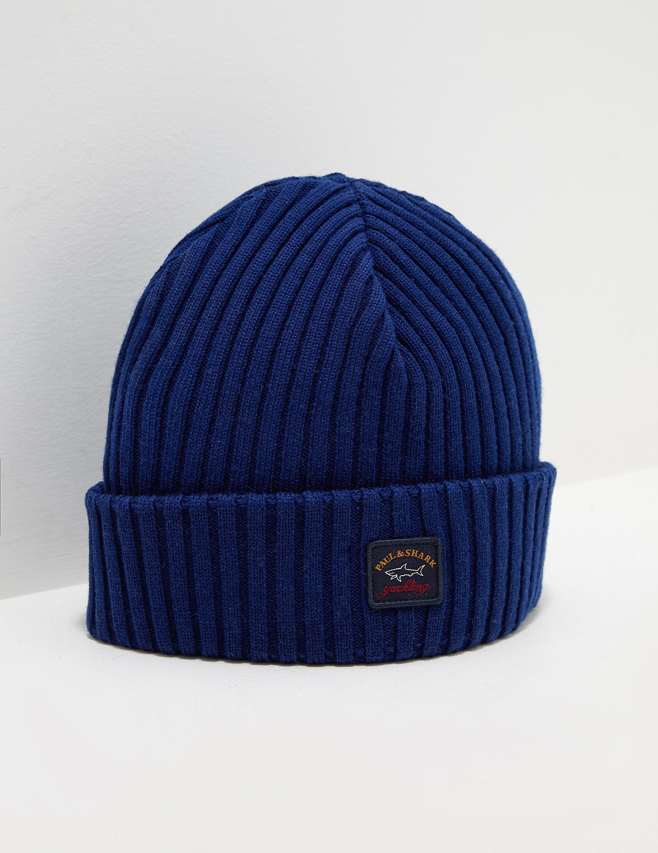 4aff9f9704d Mens Paul and Shark Patch Beanie Blue