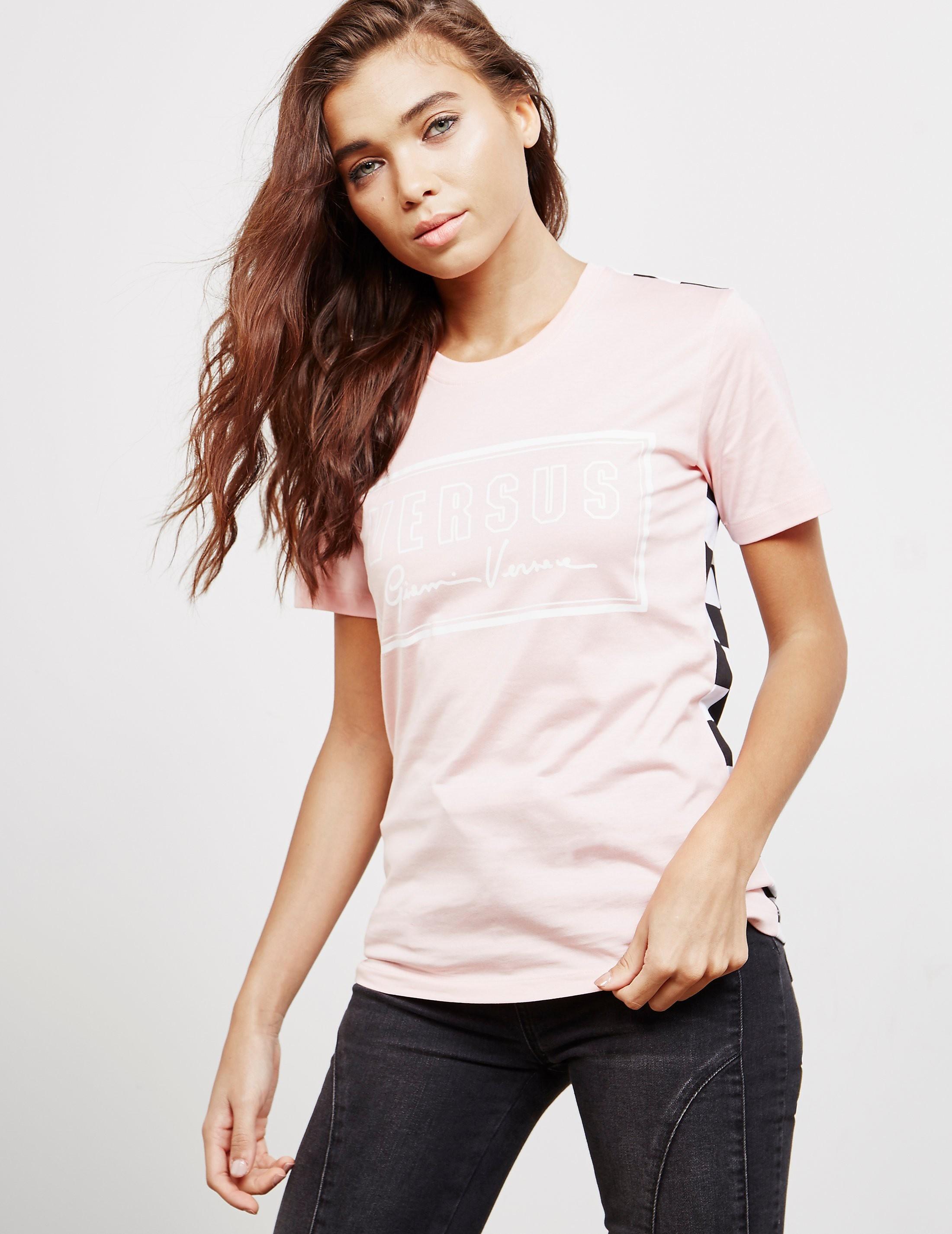89015cf9 Womens Versus Versace Box Logo Short Sleeve T-Shirt Pink, Pink ...