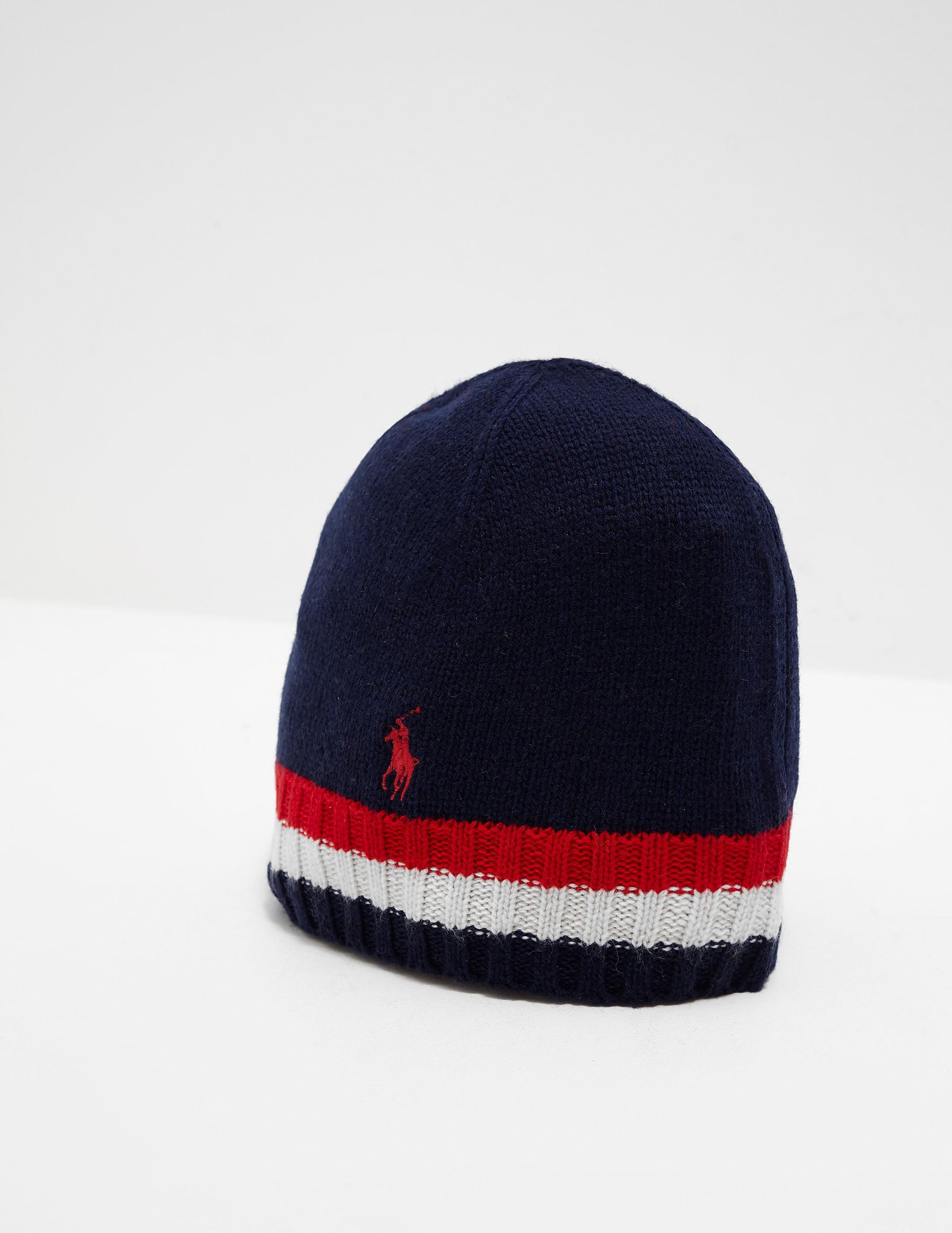 b5d44834ddb85 Mens Polo Ralph Lauren Flag Beanie Navy blue