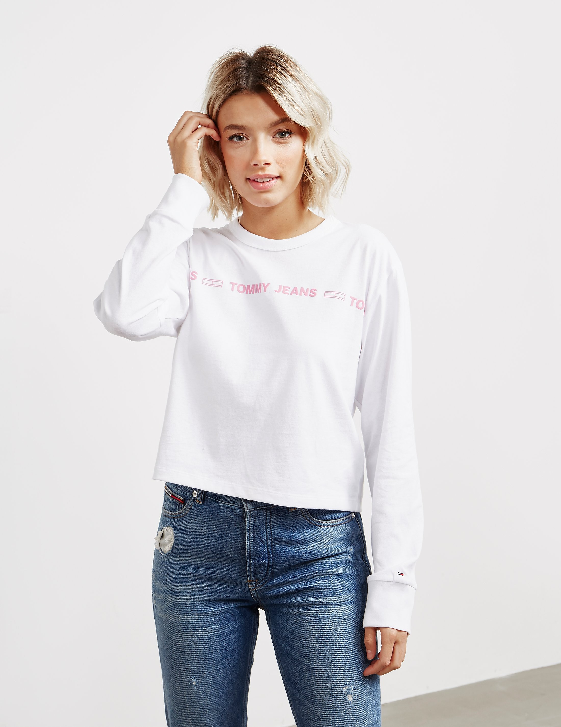 48f6bdc21 Womens Tommy Jeans Statement Long Sleeve T-Shirt White, White | £40.00 |  Port