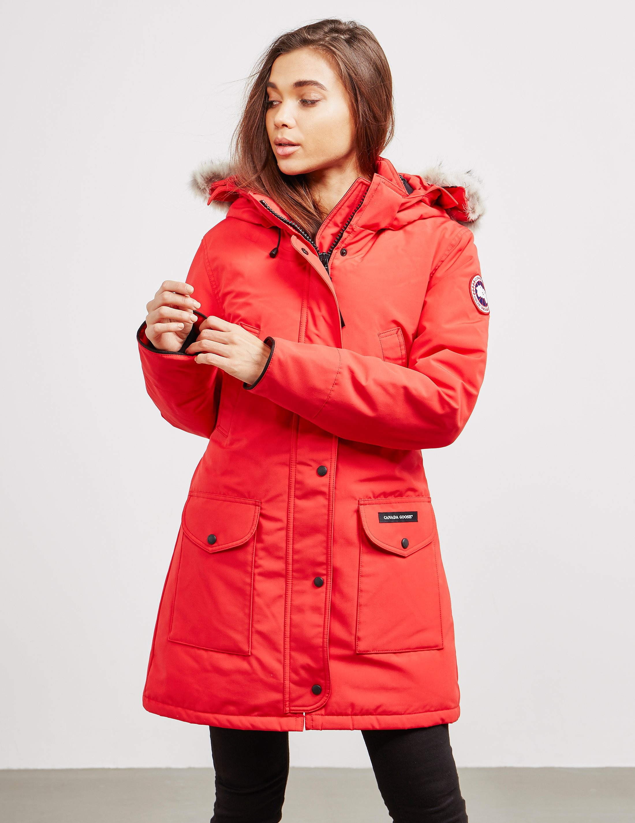 Womens Canada Goose Trillium Padded Parka Jacket Red f1919a343a