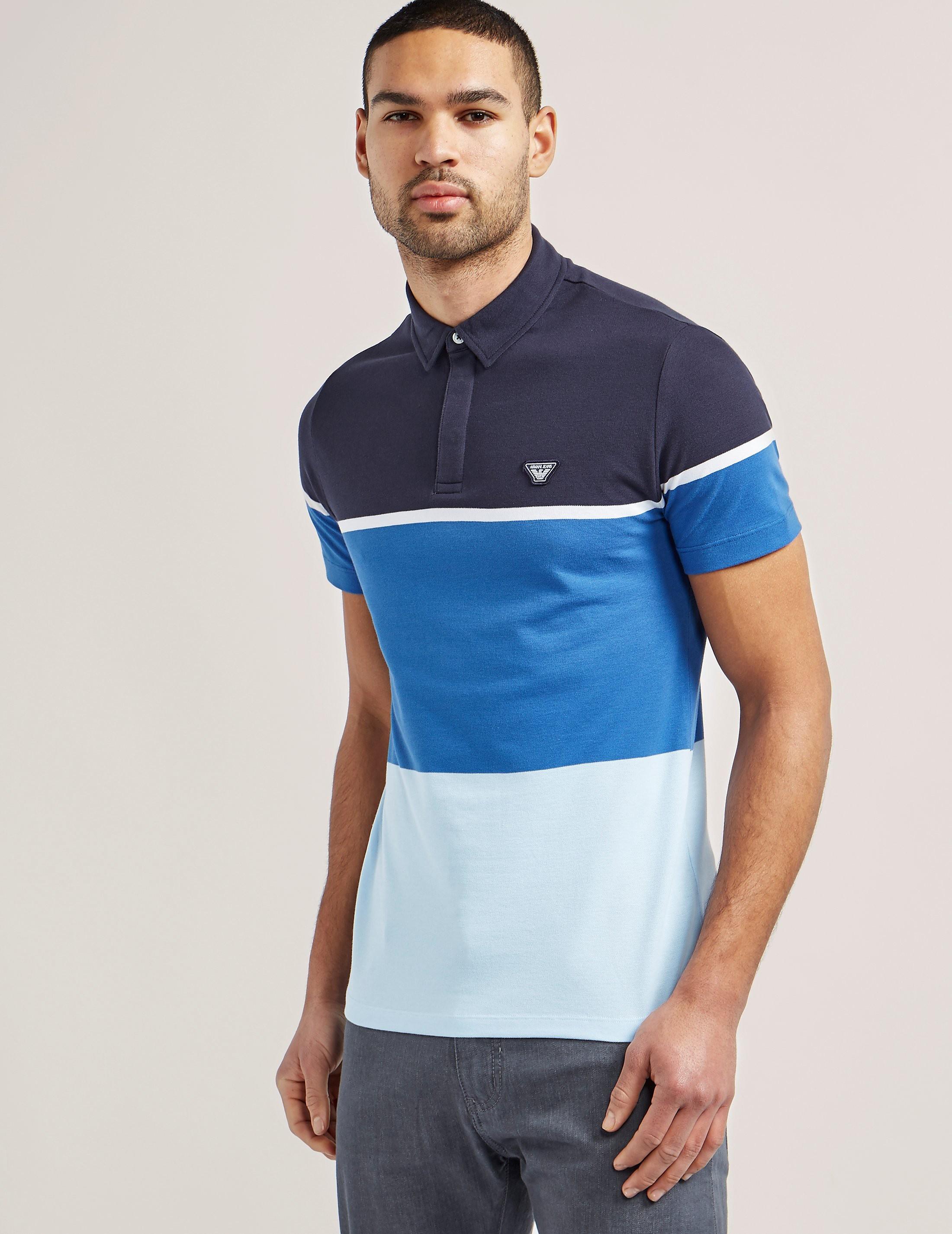 Armani Jeans Colour Block Short Sleeve Polo Shirt