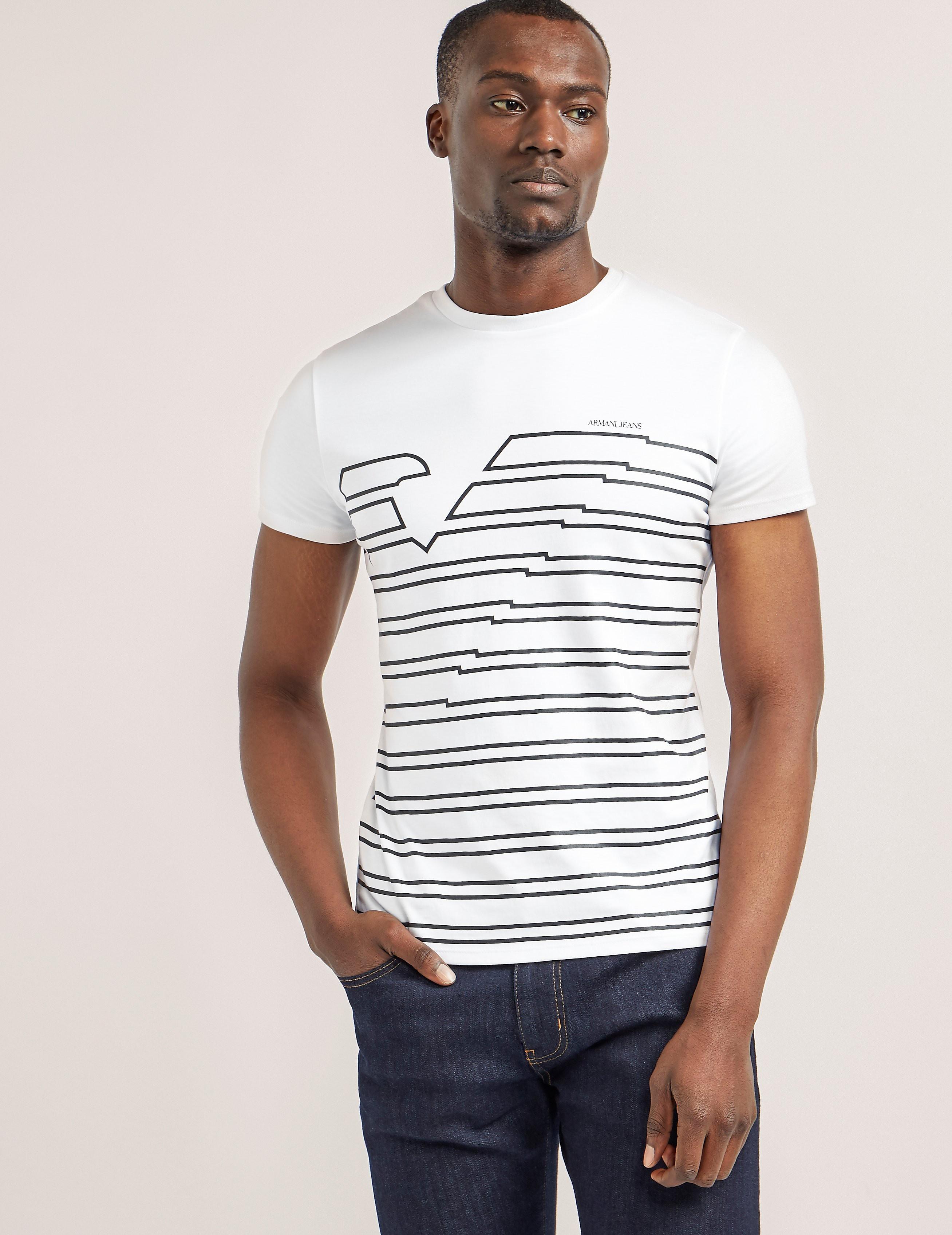 Armani Jeans Stripe Logo Short Sleeve TShirt