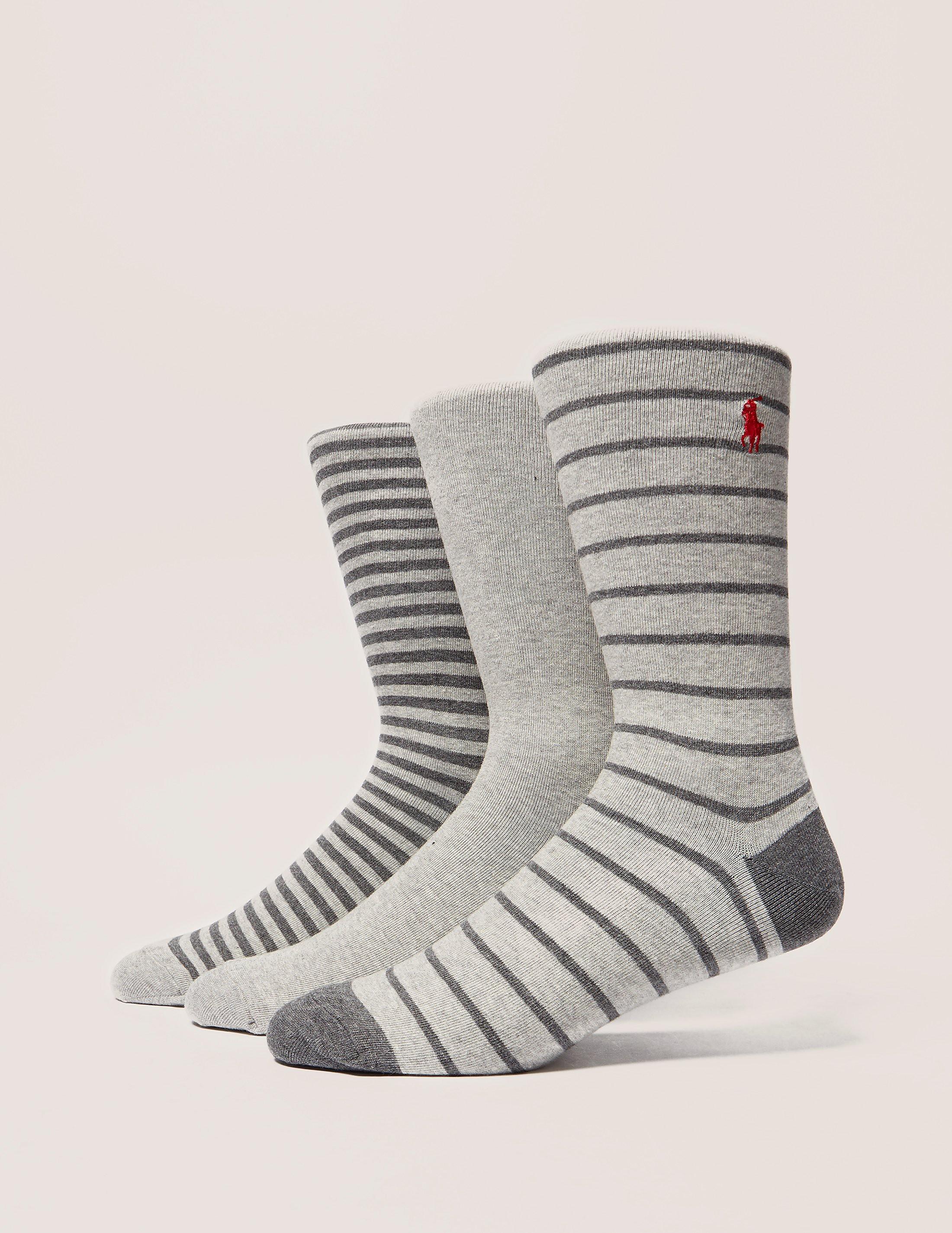 Polo Ralph Lauren 3Pack Stripes & Solid Socks