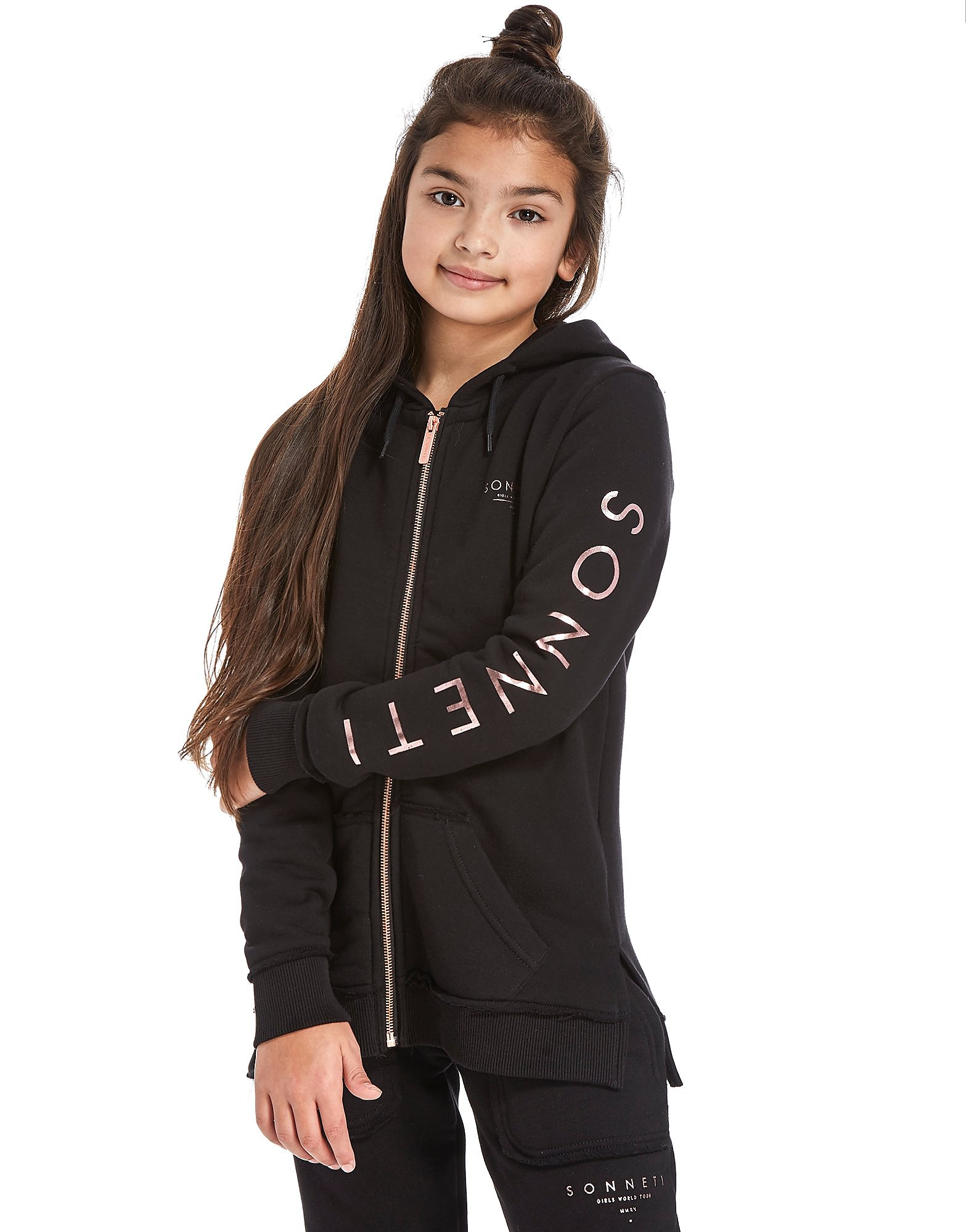 Sonneti Girls' Raw Zip Through Hoodie Junior
