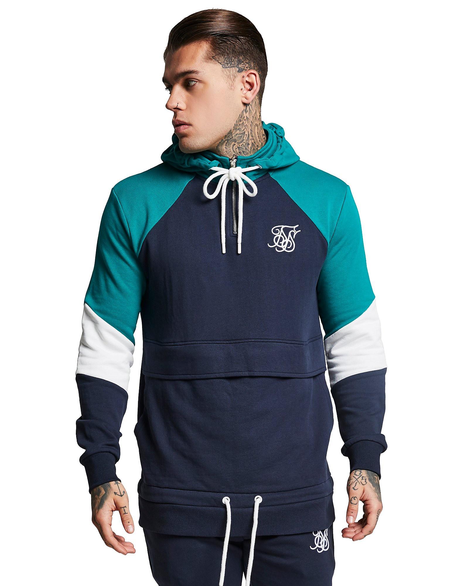 SikSilk 1/2 Zip Fleece Panel Hoodie