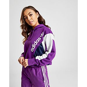 online retailer a39f7 52dbb adidas Originals 90s Colour Block Crop Hoodie ...