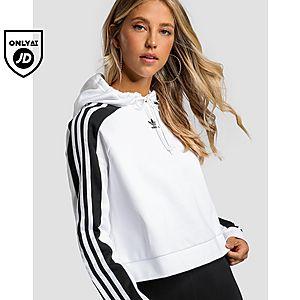 ffd7f9ee0e2 adidas Originals 3-Stripes Panel Crop Overhead Hoodie