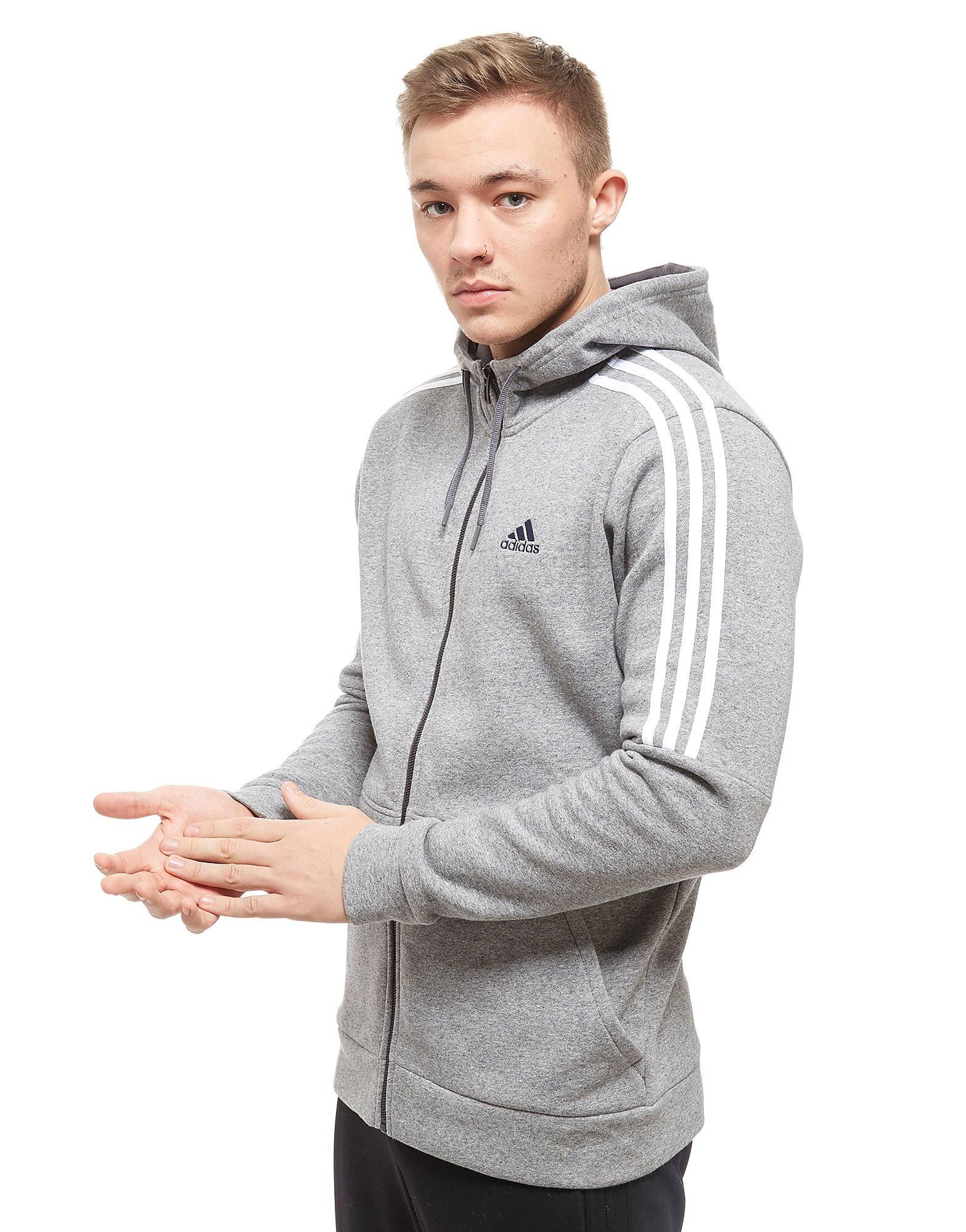 adidas Essential Voller Reißverschluss Kapuzenpullover Grau-Weiß