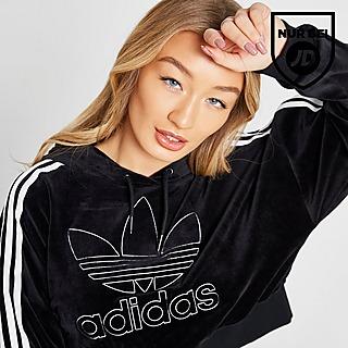 Shop den adidas Originals 3 Stripes Velvet Hoodie Damen in