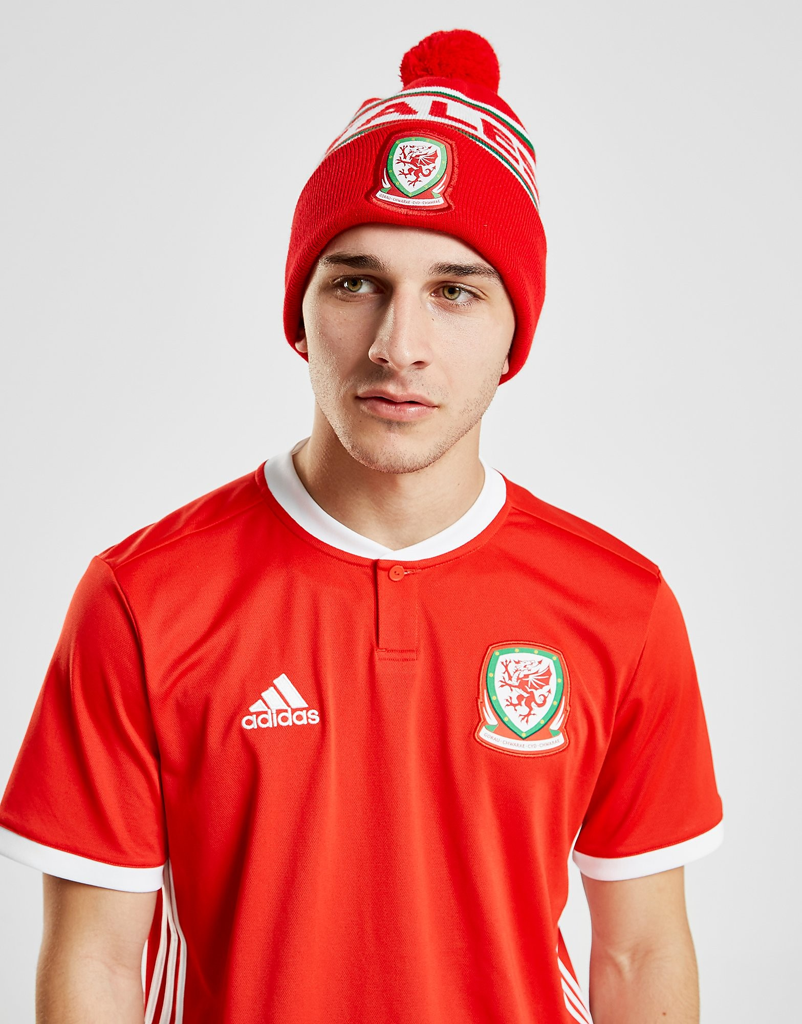 Official Team Wales Text strikket pompom-hue